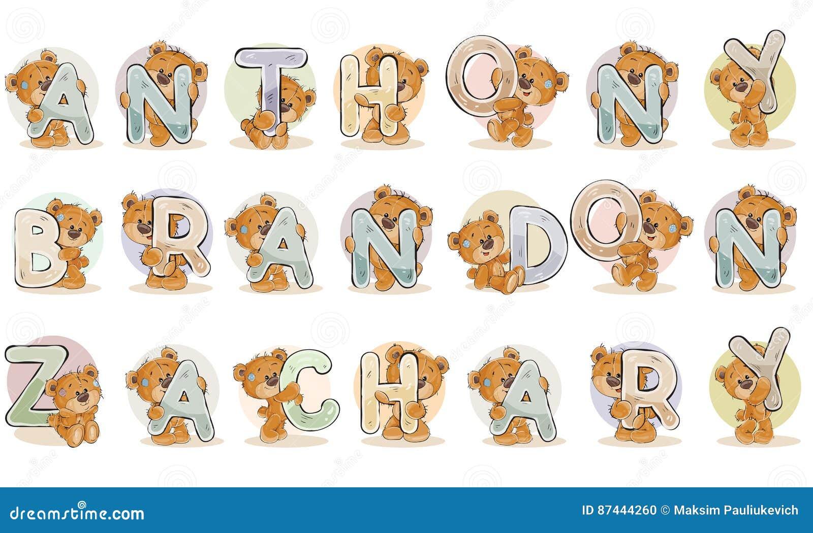 los nombres para los muchachos anthony brandon zacarias hicieron letras decorativas con los osos de peluche - Letras Decorativas