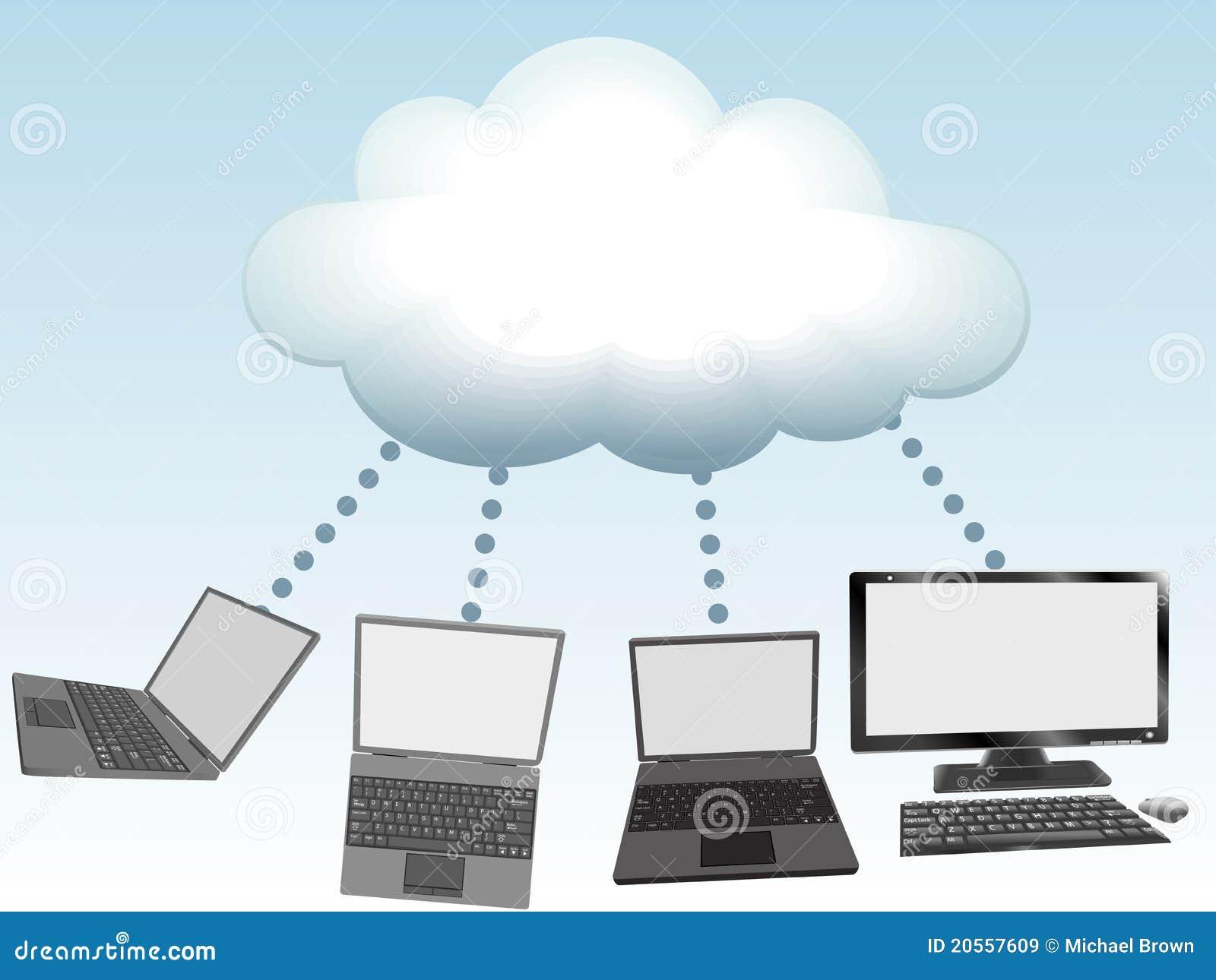 Los ordenadores conectan con la tecnología de ordenadores de la nube