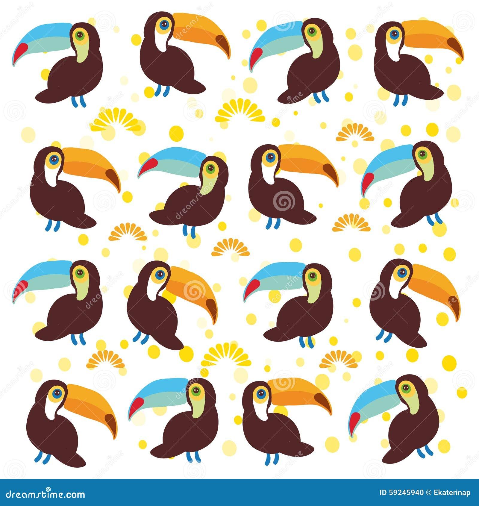 Download Los Pájaros Lindos Del Tucán De La Historieta Fijaron En El Fondo Blanco Ilustración del Vector - Ilustración de pájaros, pájaro: 59245940