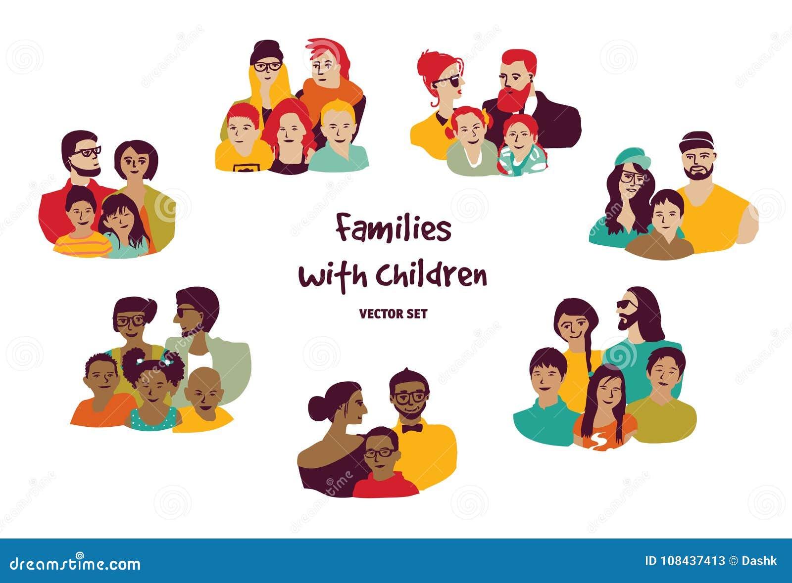 Los padres felices de las familias con los niños aislaron a los grupos fijados