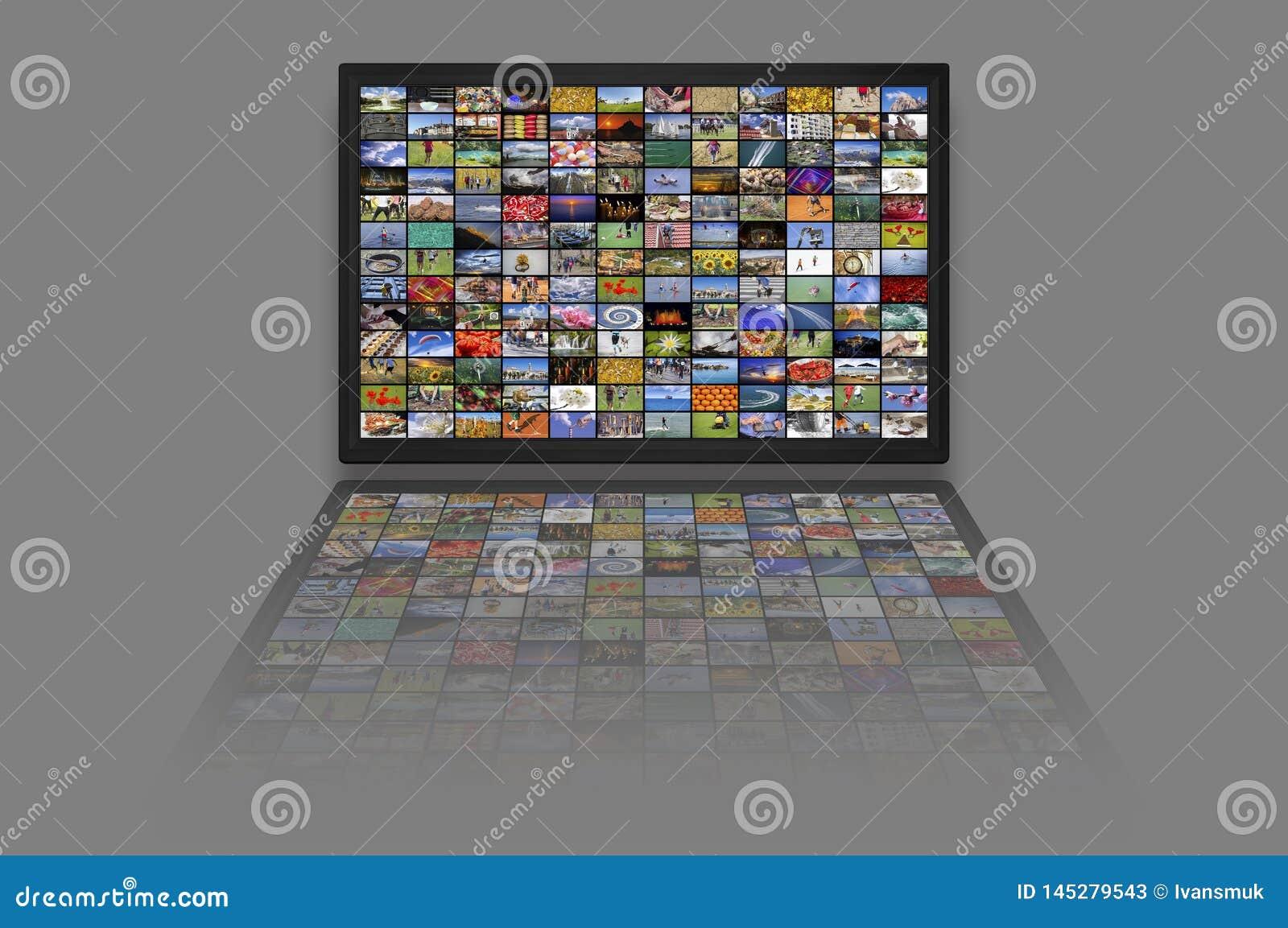 Los paneles del LCD TV como pared video con imágenes coloridas