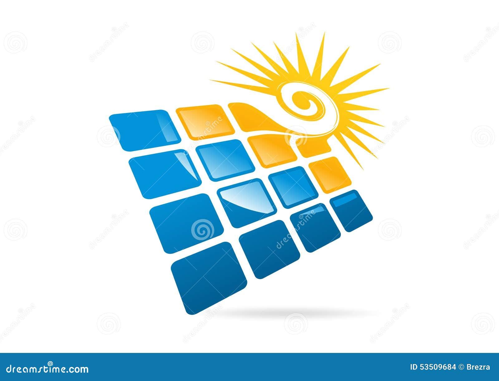 Los Paneles Solares Logotipo Sol Del Remolino E Icono
