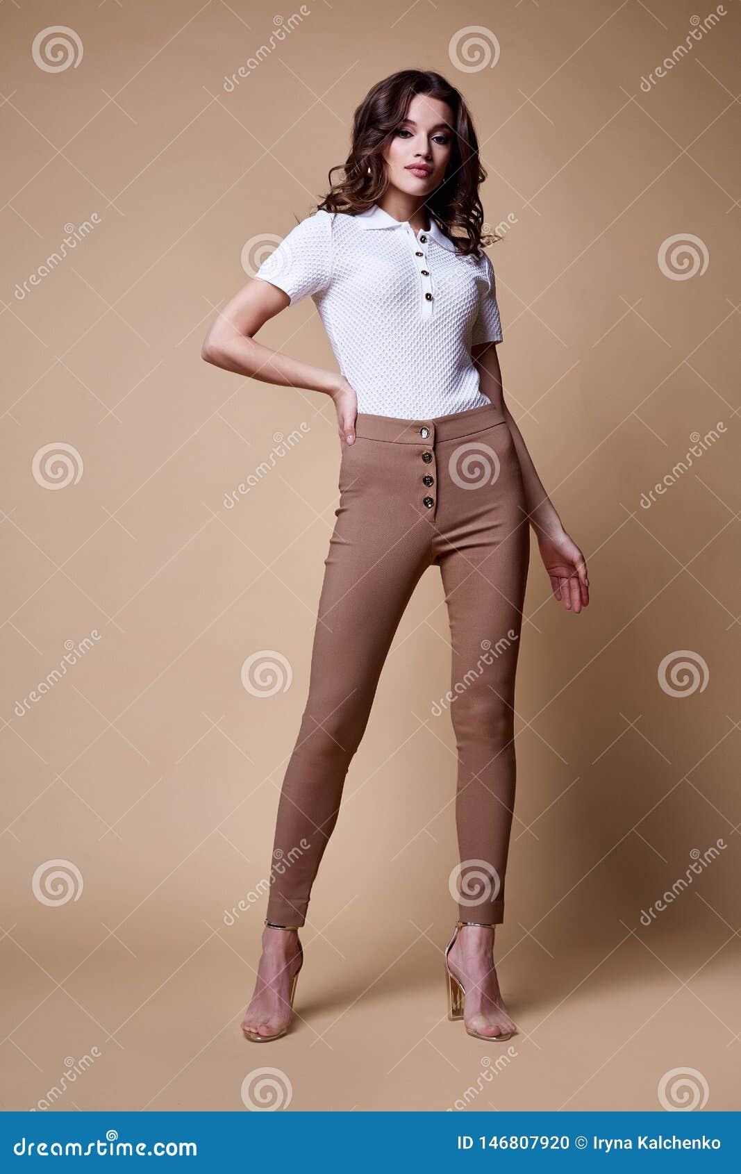 Los Pantalones De Seda De La Blusa De La Mujer De La Moda Del Encanto Del Modelo Del Pelo Del Desgaste Moreno Hermoso Atractivo D Foto De Archivo Imagen De Atractivo