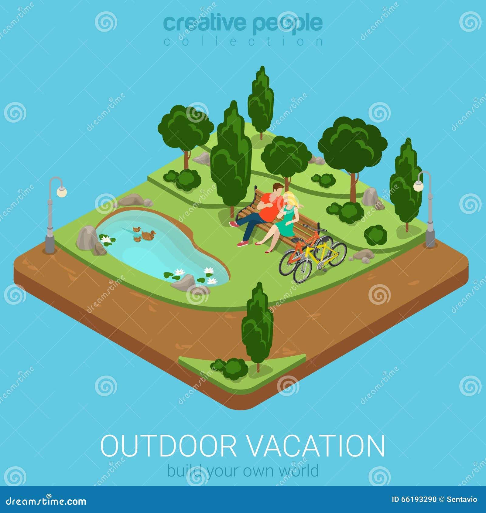 Los pares de ciclo de las vacaciones al aire libre isométricas planas bench Forest Park