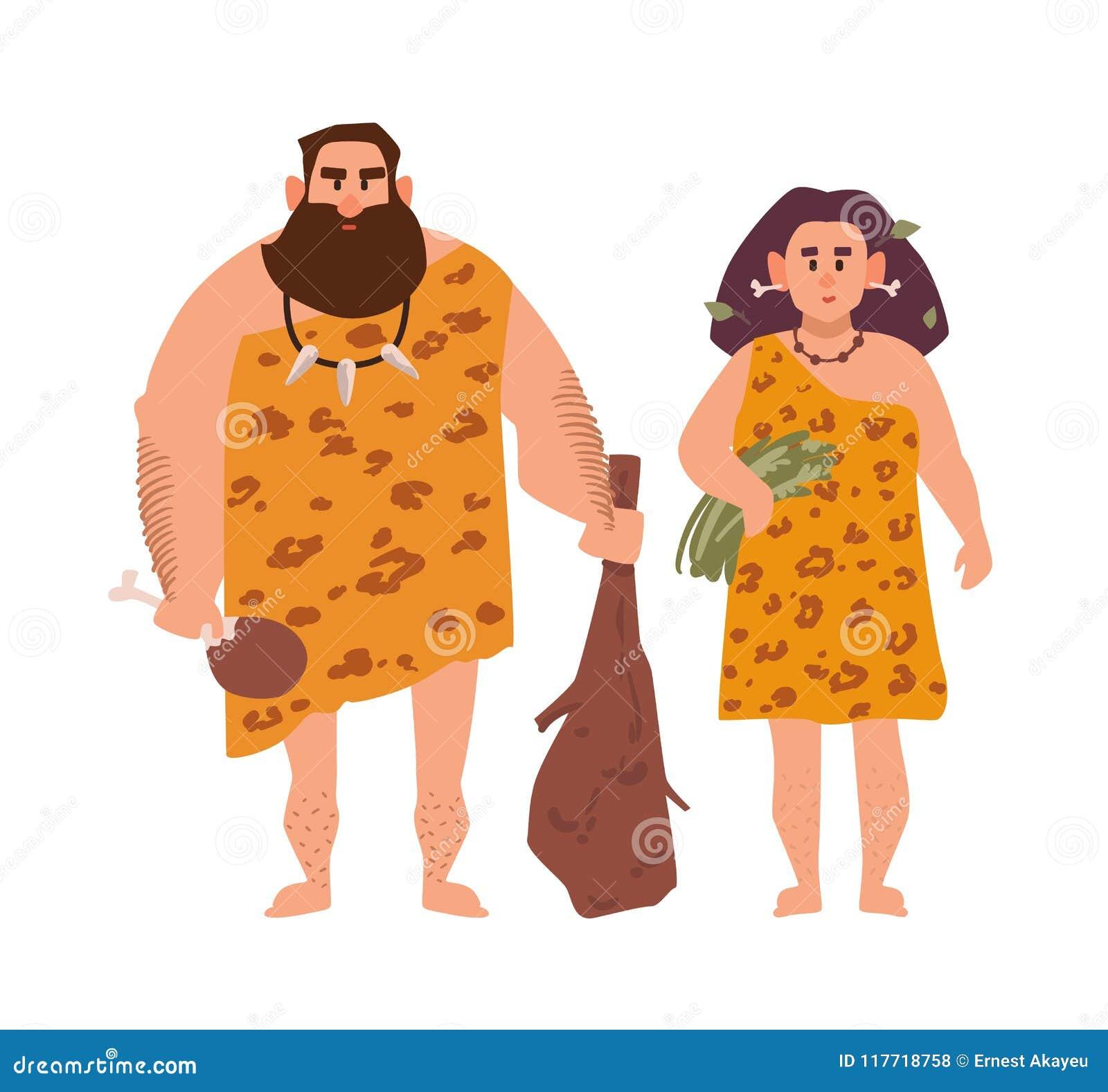 Pares De Se Primitivos Mujer Vistieron Los Arcaicos En Hombre Y CodxerB