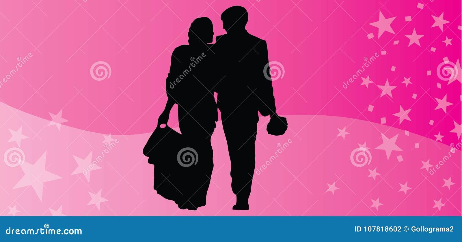 Los pares felices del vector del día de tarjetas del día de San Valentín siluetean el fondo rosado