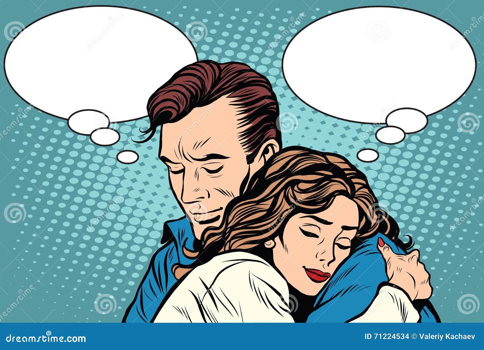 Los pares sirven y el abrazo del amor de la mujer