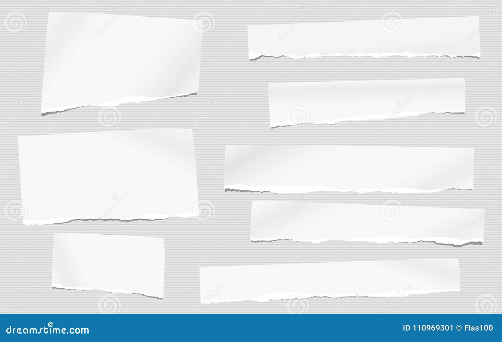Los pedazos de la nota en blanco blanca rasgada, papel del cuaderno para el texto se pegaron en fondo gris rayado
