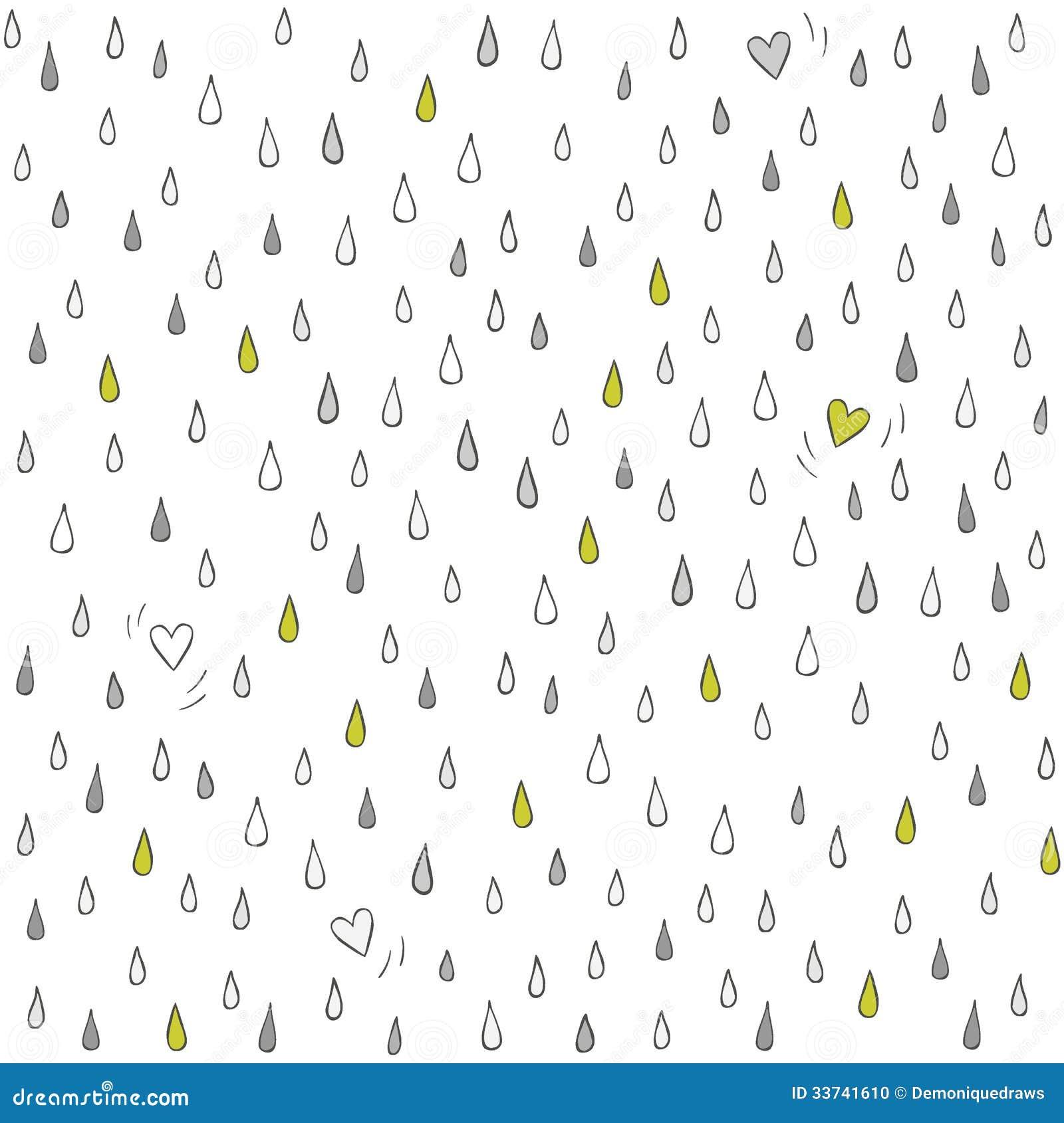 Los Pequeños Corazones Perdieron En La Lluvia En Blanco Ilustración