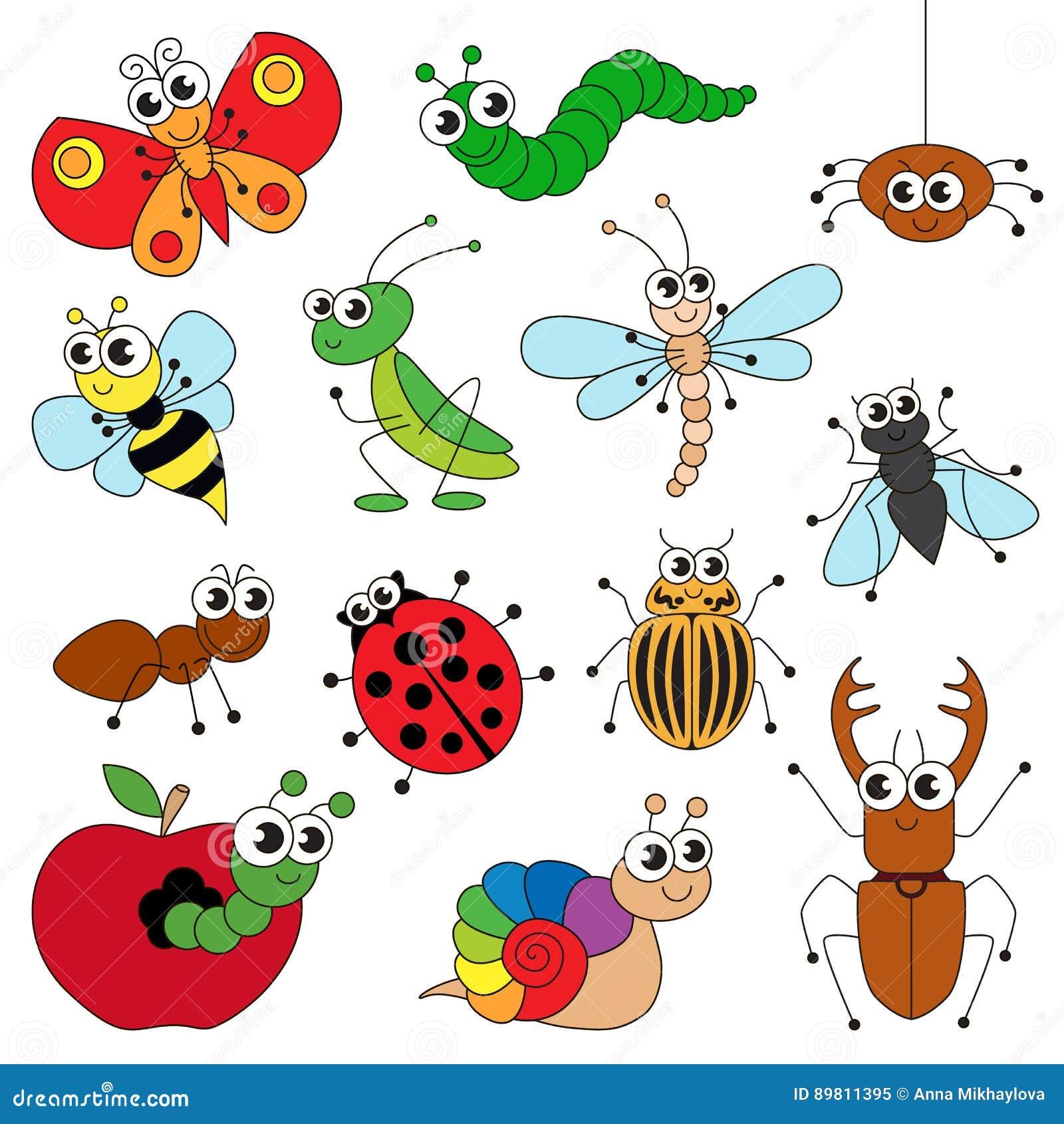 Los Pequeños Insectos Lindos Fijaron, La Colección De Plantilla Del ...