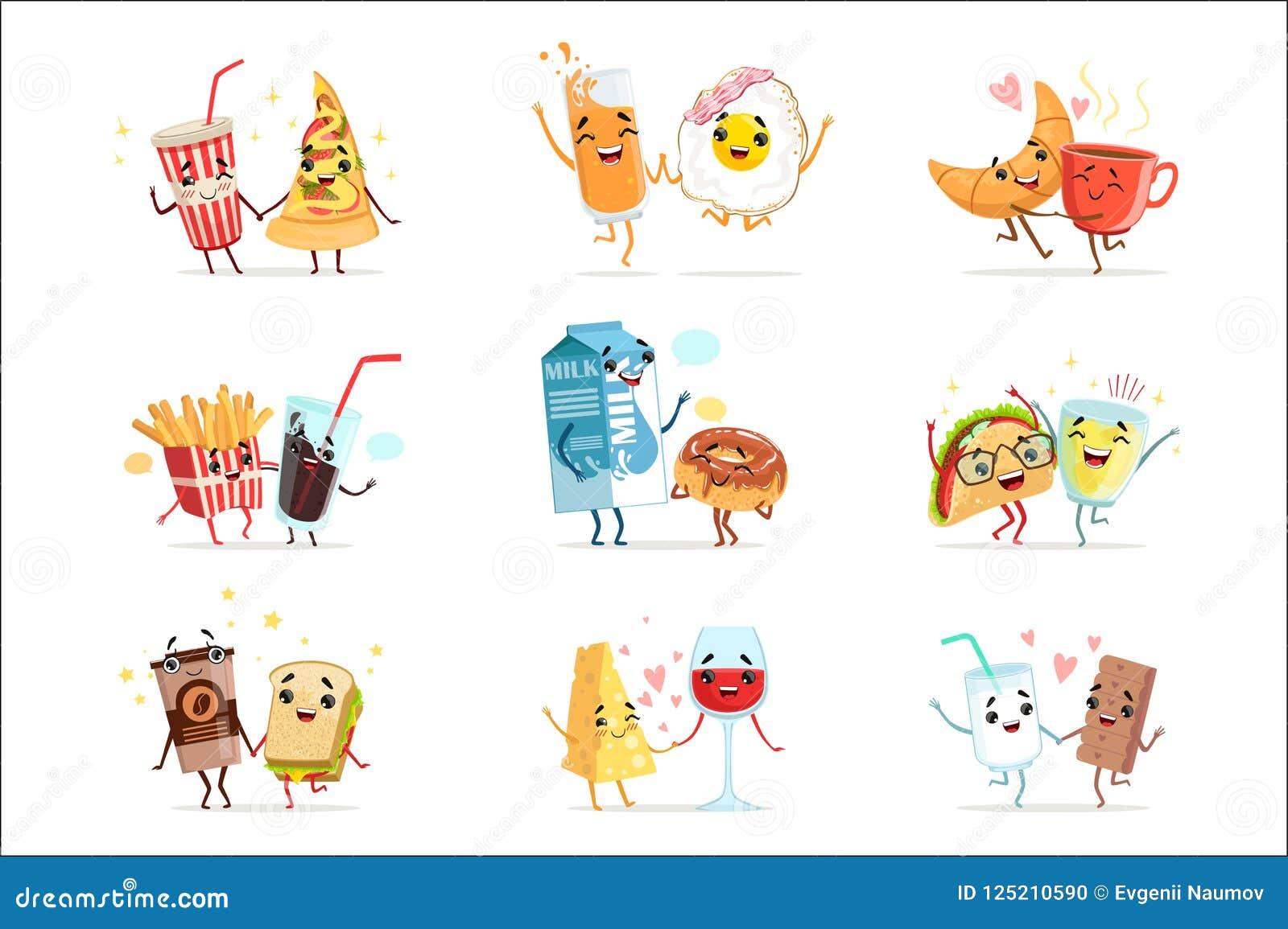 Los Personajes De Dibujos Animados Cómicos Lindos De La Comida