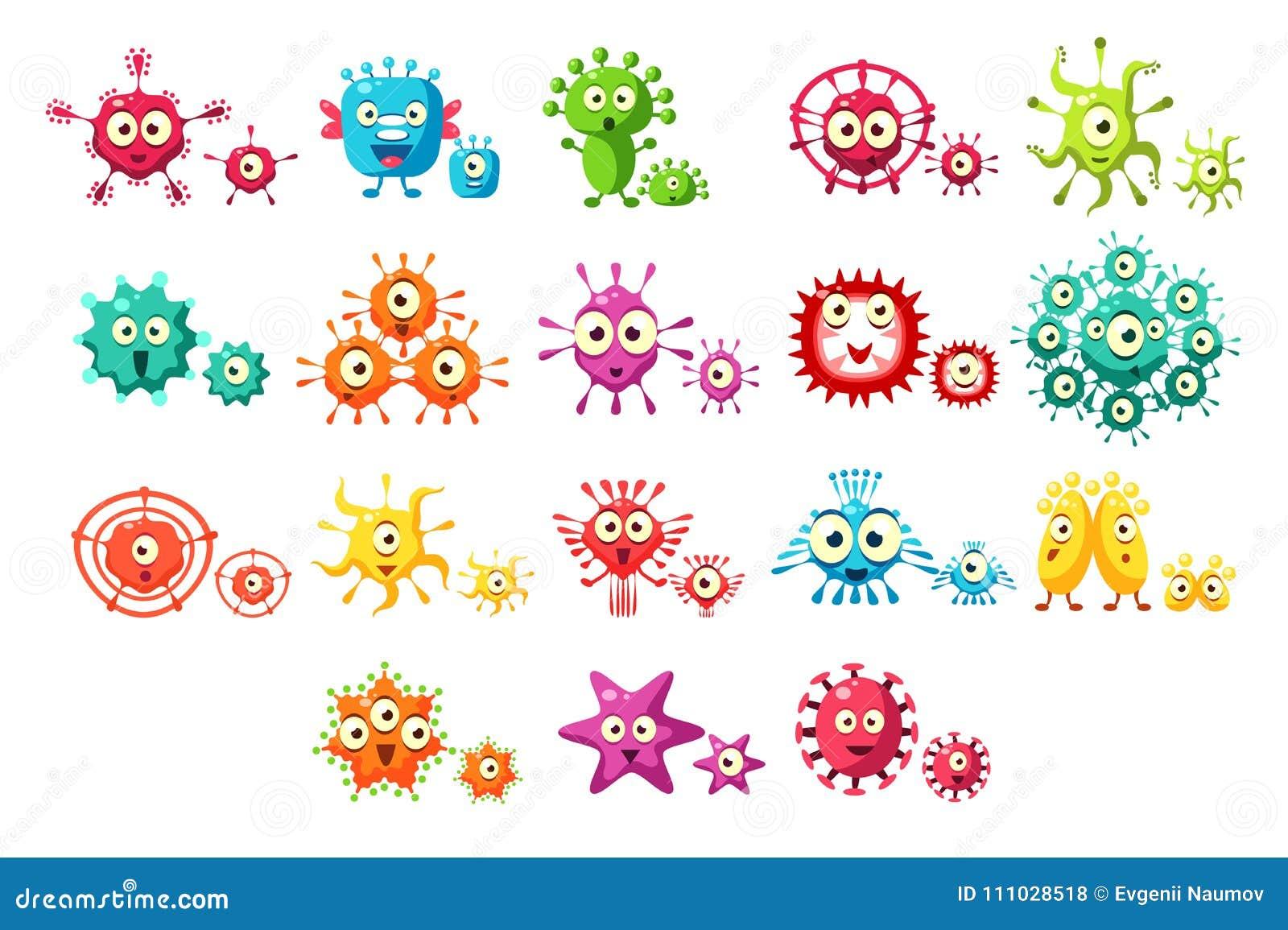 Los personajes de dibujos animados coloridos de las bacterias fijaron, los microbios lindos con los ejemplos divertidos del vecto