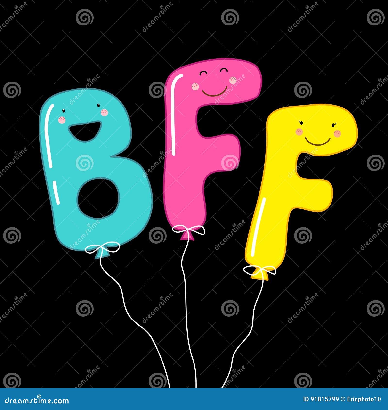 Los Personajes De Dibujos Animados Sonrientes Lindos De Los Mejores Amigos De Las Letras Bff Como Partido Hinchan Para Siempre Ilustracion Del Vector Ilustracion De Animados Sonrientes 91815799