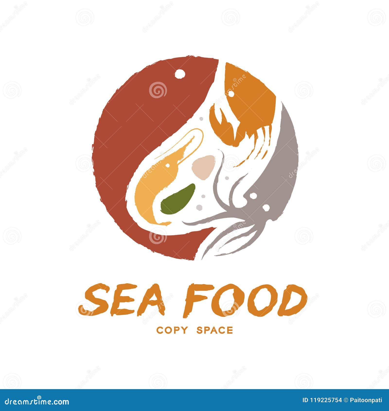 Los pescados, la gamba, la cáscara, el cangrejo y el calamar circundan la forma, ejemplo colorido del diseño determinado del icon