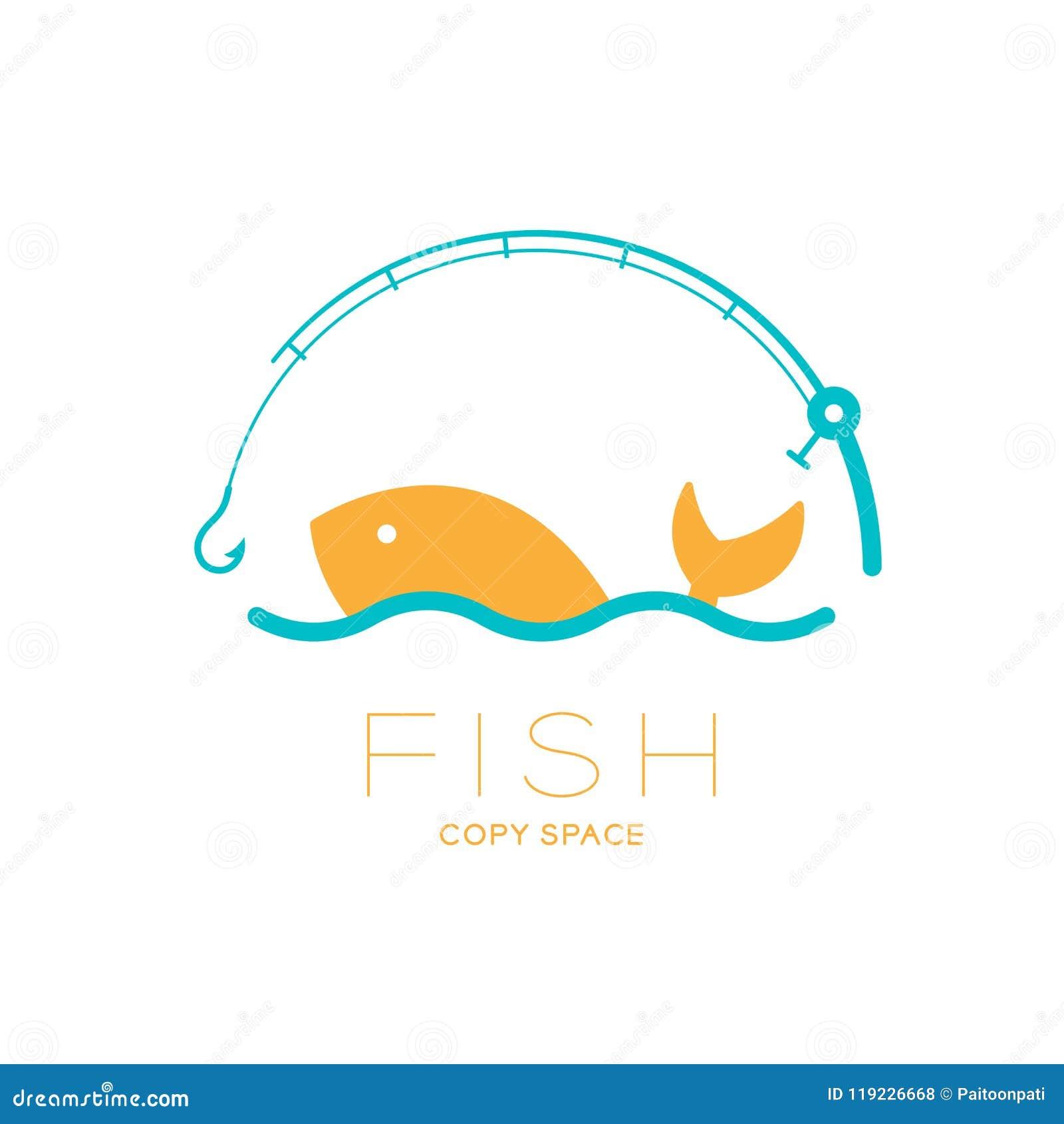 Los pescados y el mar en caña de pescar curvan el marco, ejemplo del diseño determinado del icono del logotipo
