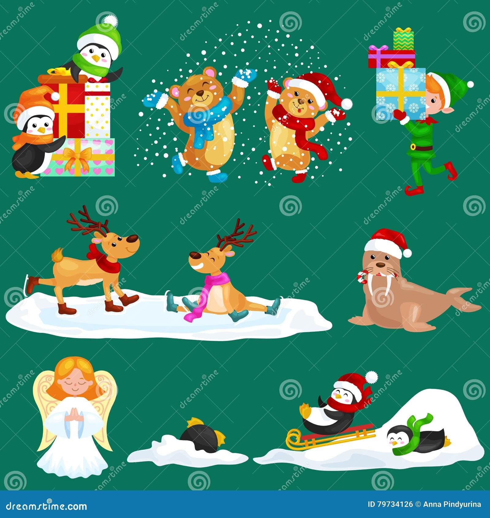 Los pingüinos determinados de Polo Norte de las vacaciones de invierno de los animales del ejemplo presentan y sledding abajo de