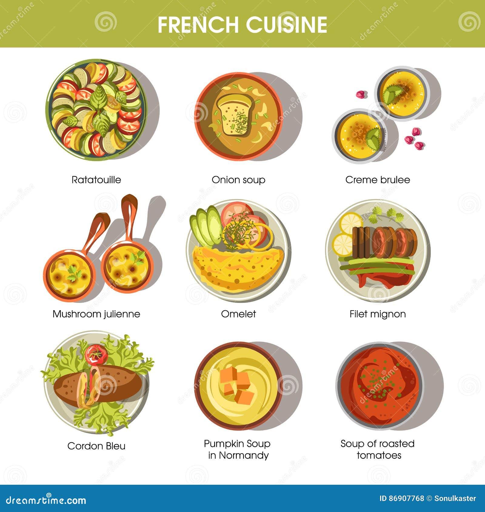 Los platos franceses de la comida de la cocina para el for French cuisine 3 modules