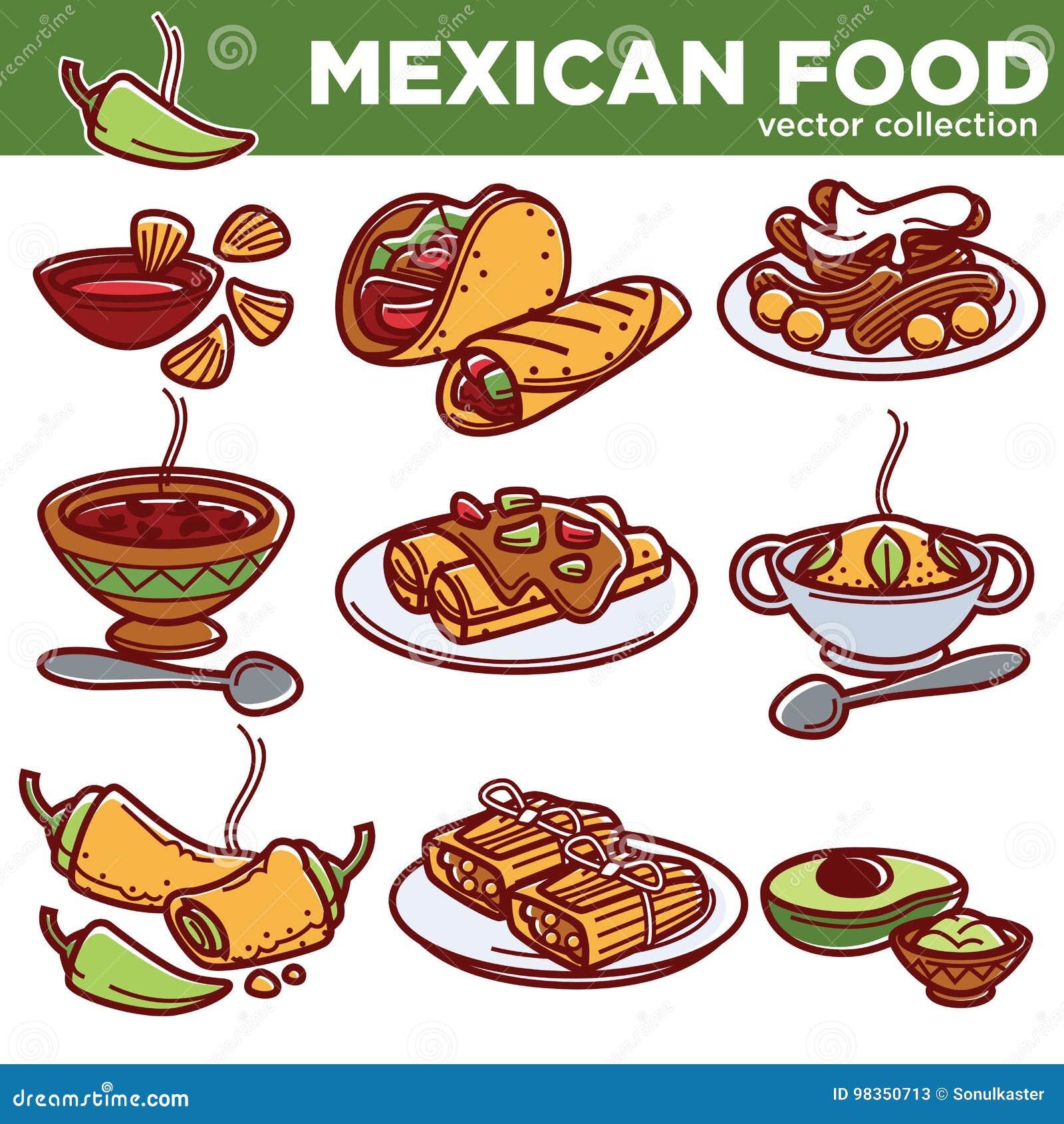 Platos tradicionales de la cocina mexicana de la comida para el menú del  restaurante Los fajitas de México 5e43503ced7