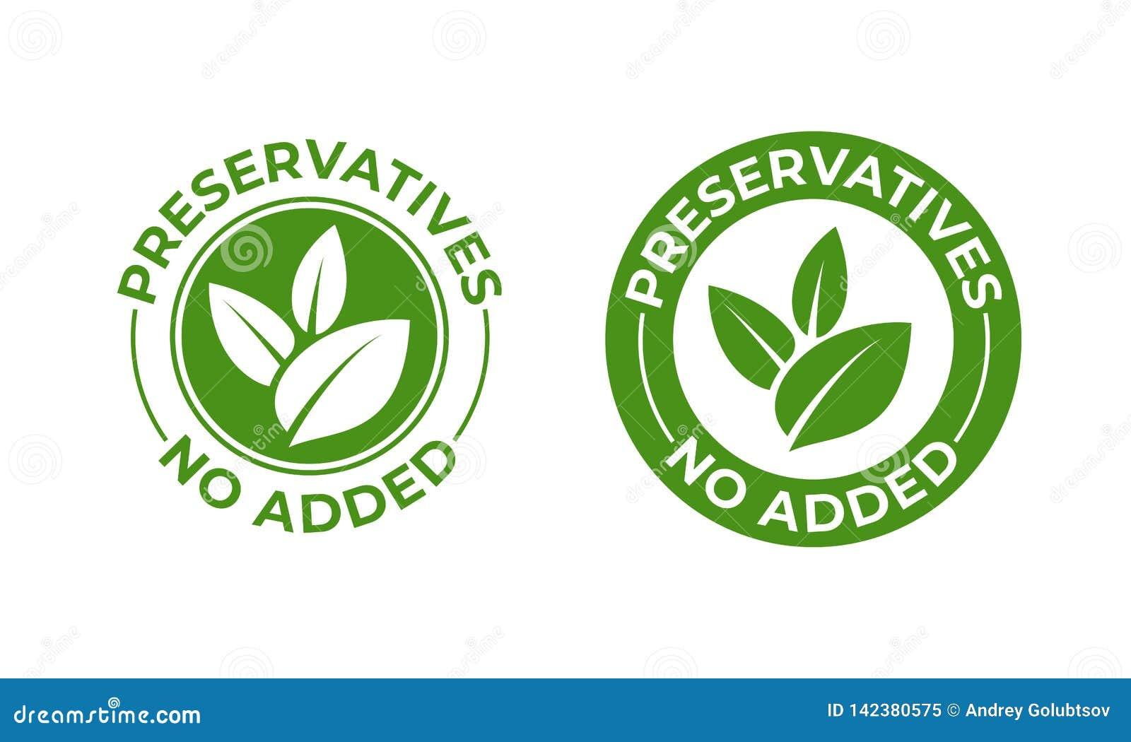 Los preservativos añadieron no el icono orgánico de la hoja del verde del vector Preservativos libres, sello orgánico natural del
