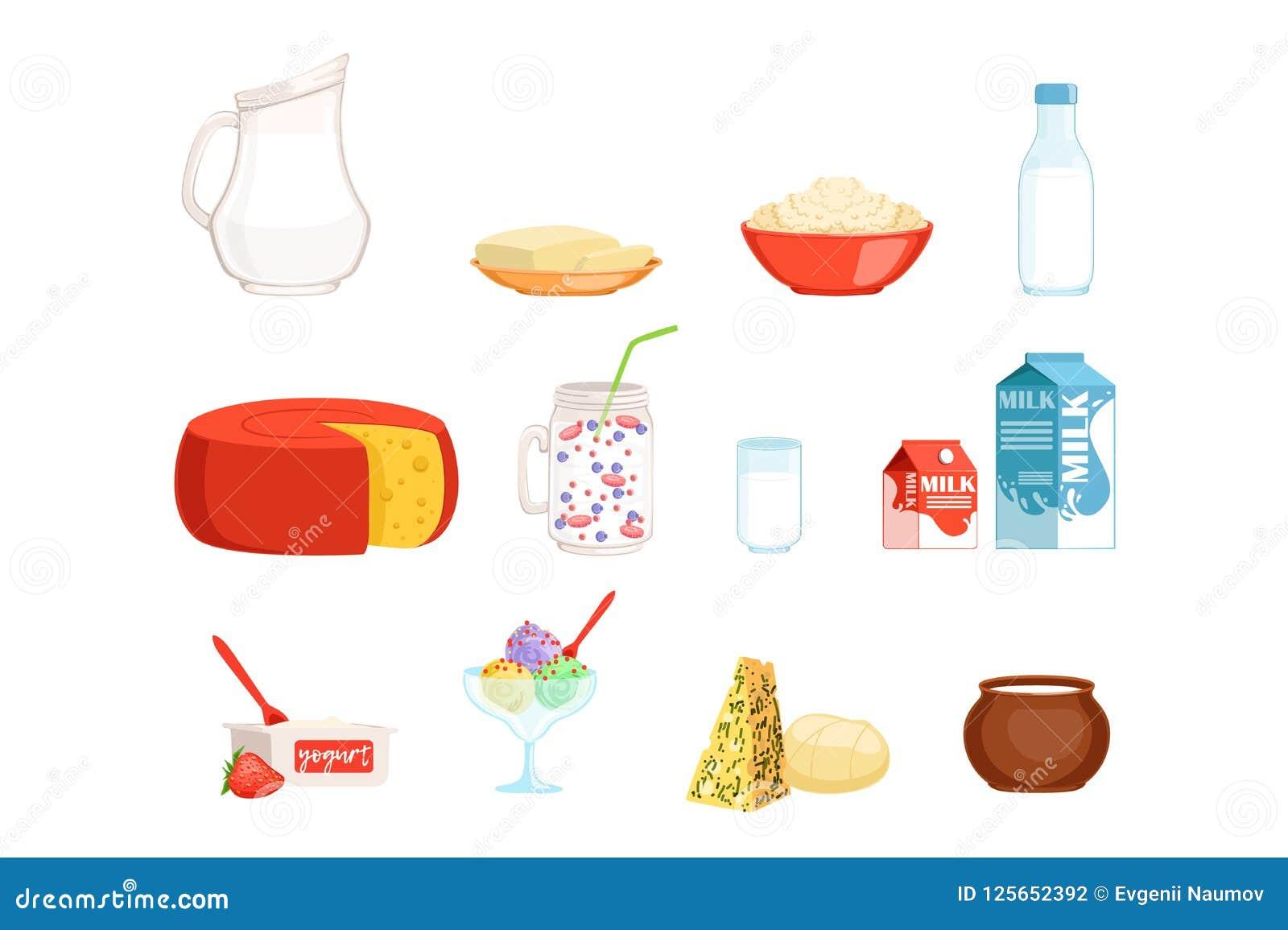 Los Productos Lácteos Fijan Ordeñan Untan Con Mantequilla Queso Yogur Crema Agria Ejemplos Del Vector Del Helado Ilustración Del Vector Ilustración De Desayuno Surtido 125652392