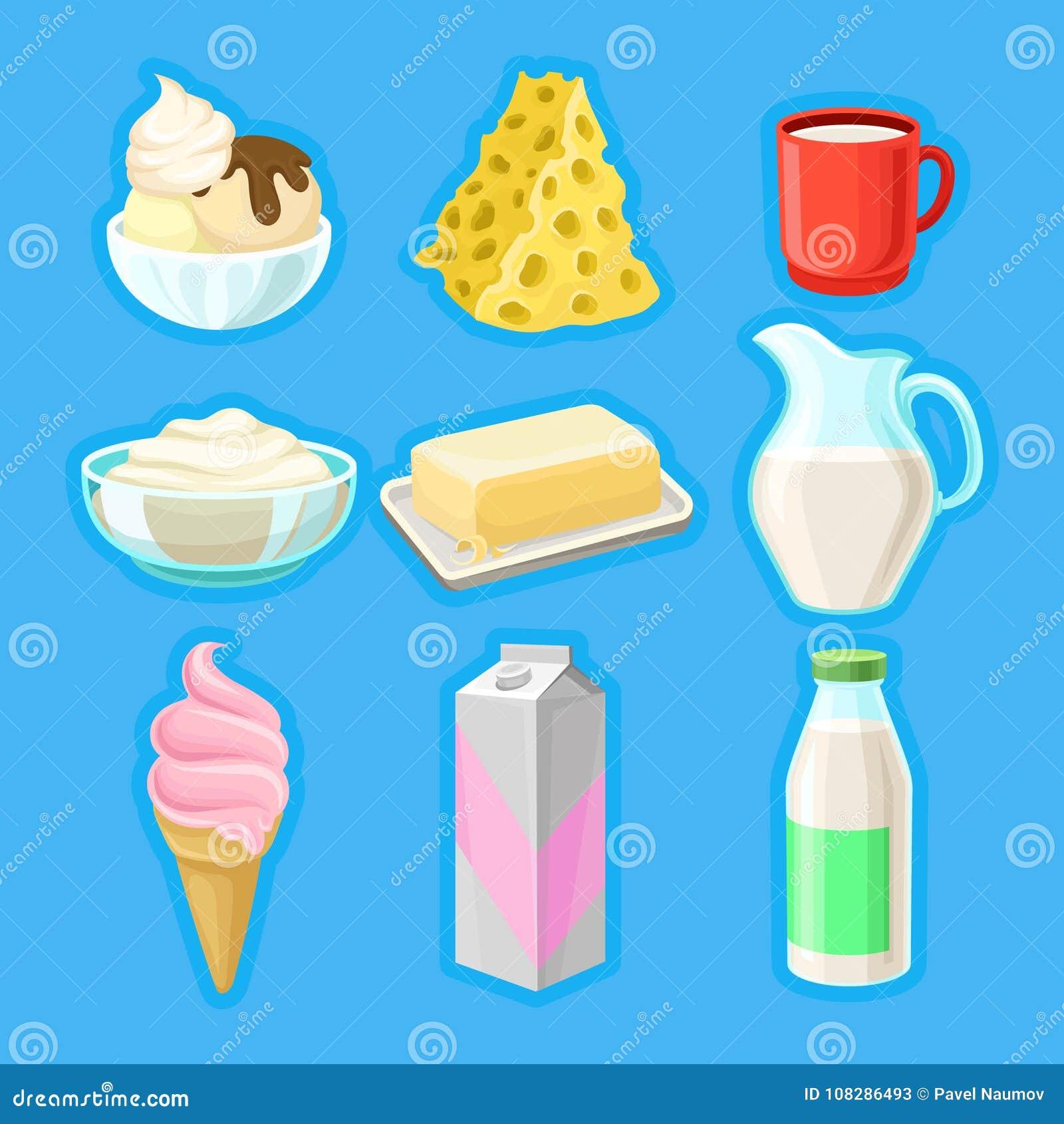 Los Productos Lácteos Fijaron Los Ejemplos Orgánicos Frescos Del Vector De Los Productos Lácteos Ilustración Del Vector Ilustración De Producto Sano 108286493