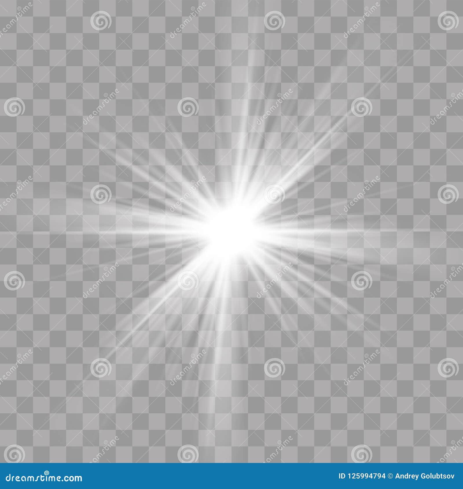Los rayos ligeros destellan efecto de la resplandor del brillo de la estrella del sol