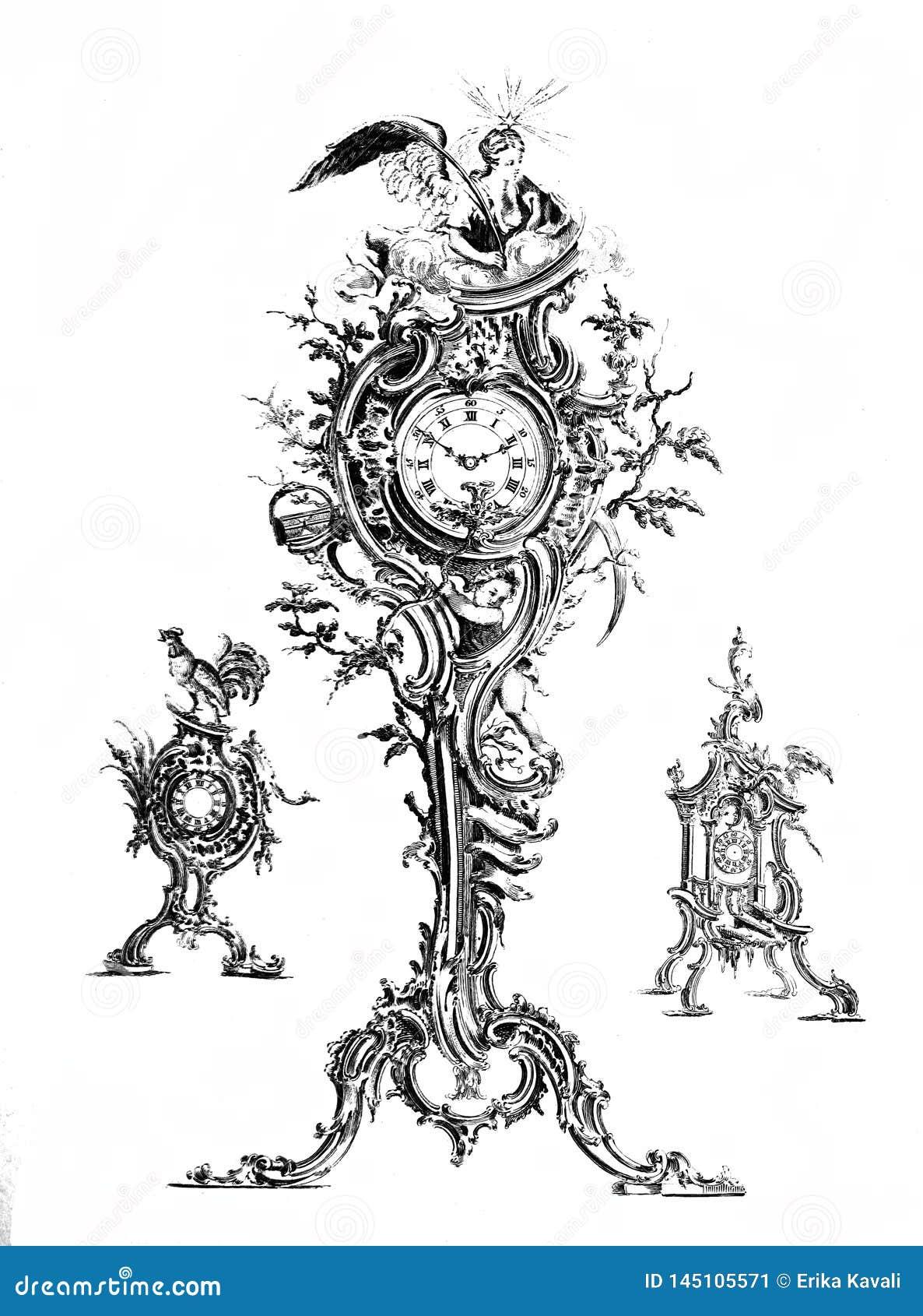 Los relojes del vintage fijaron el clip art