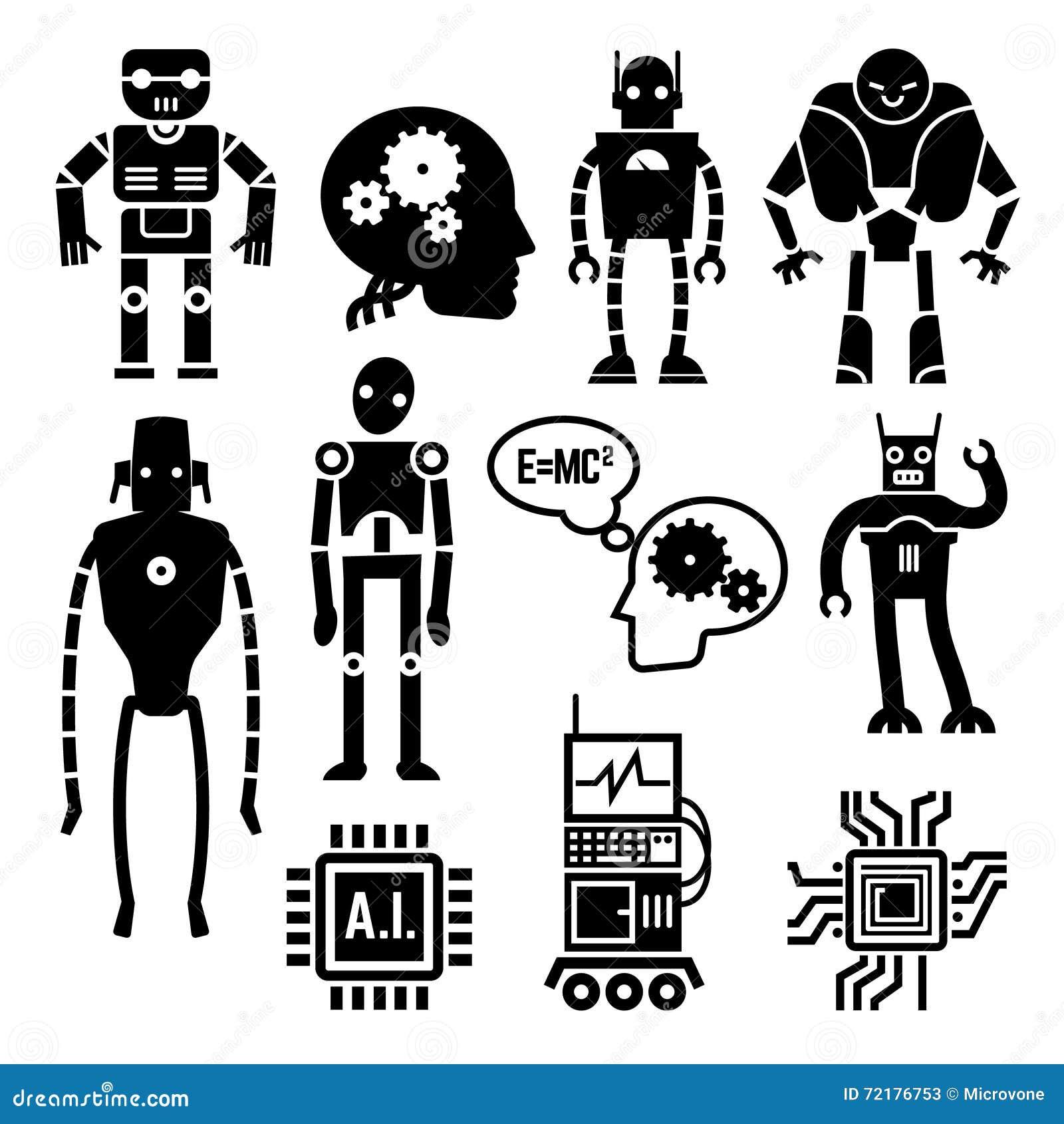 Los robots, los cyborgs, los androides y la inteligencia artificial vector iconos