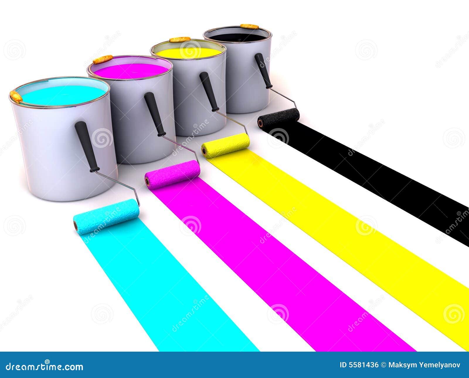 Los rodillos aplican con brocha y los compartimientos de pintura 3d imagen de archivo libre de - Brochas pintura ...