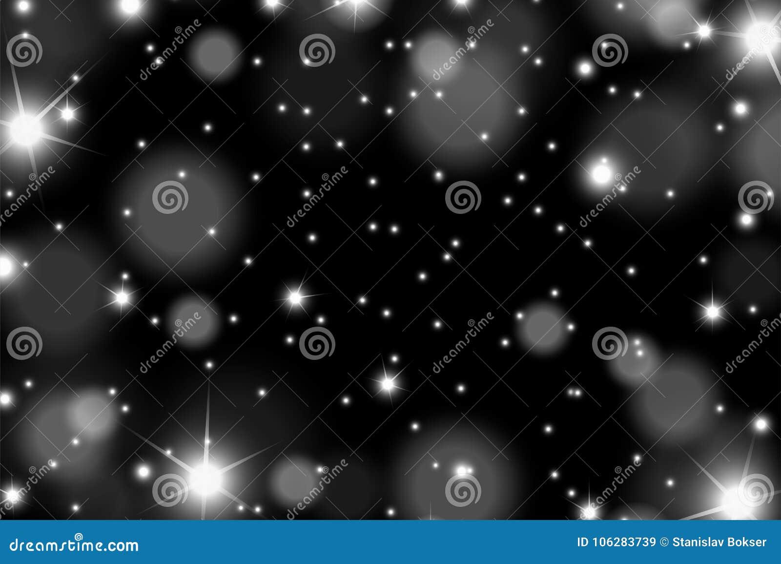 Los sparcles y las llamaradas blancos brillantes abstractos efectúan el modelo en fondo negro