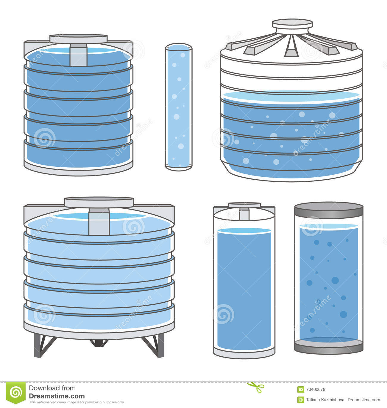 Los tanques de agua industriales fijados vector for Tanque hidroneumatico para agua