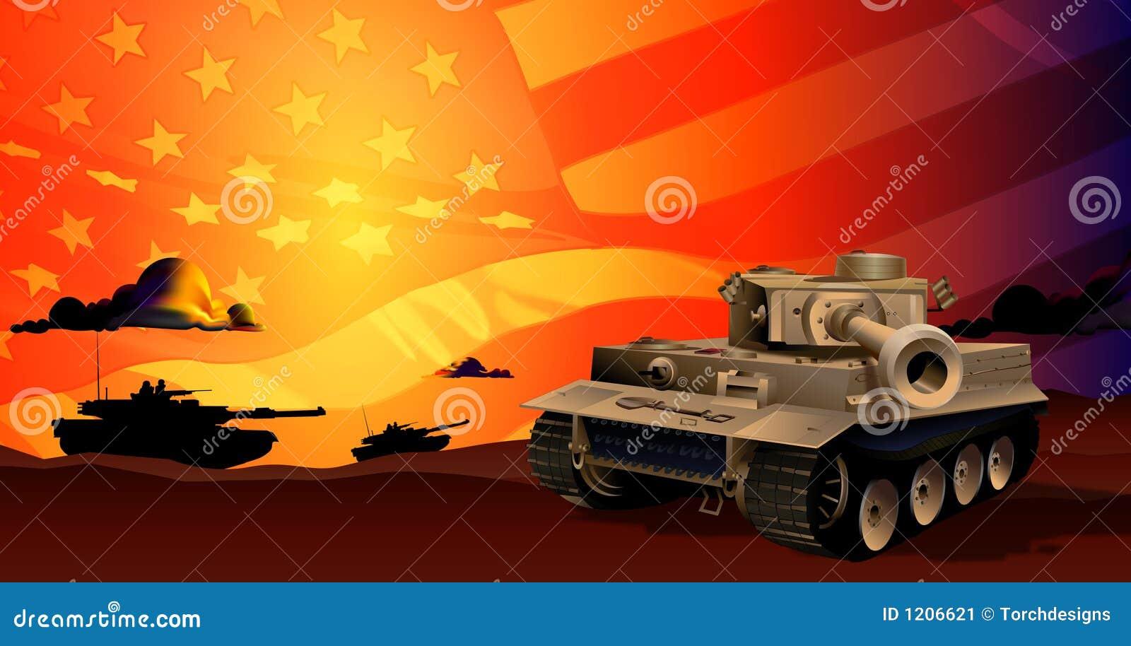 Los tanques en la puesta del sol