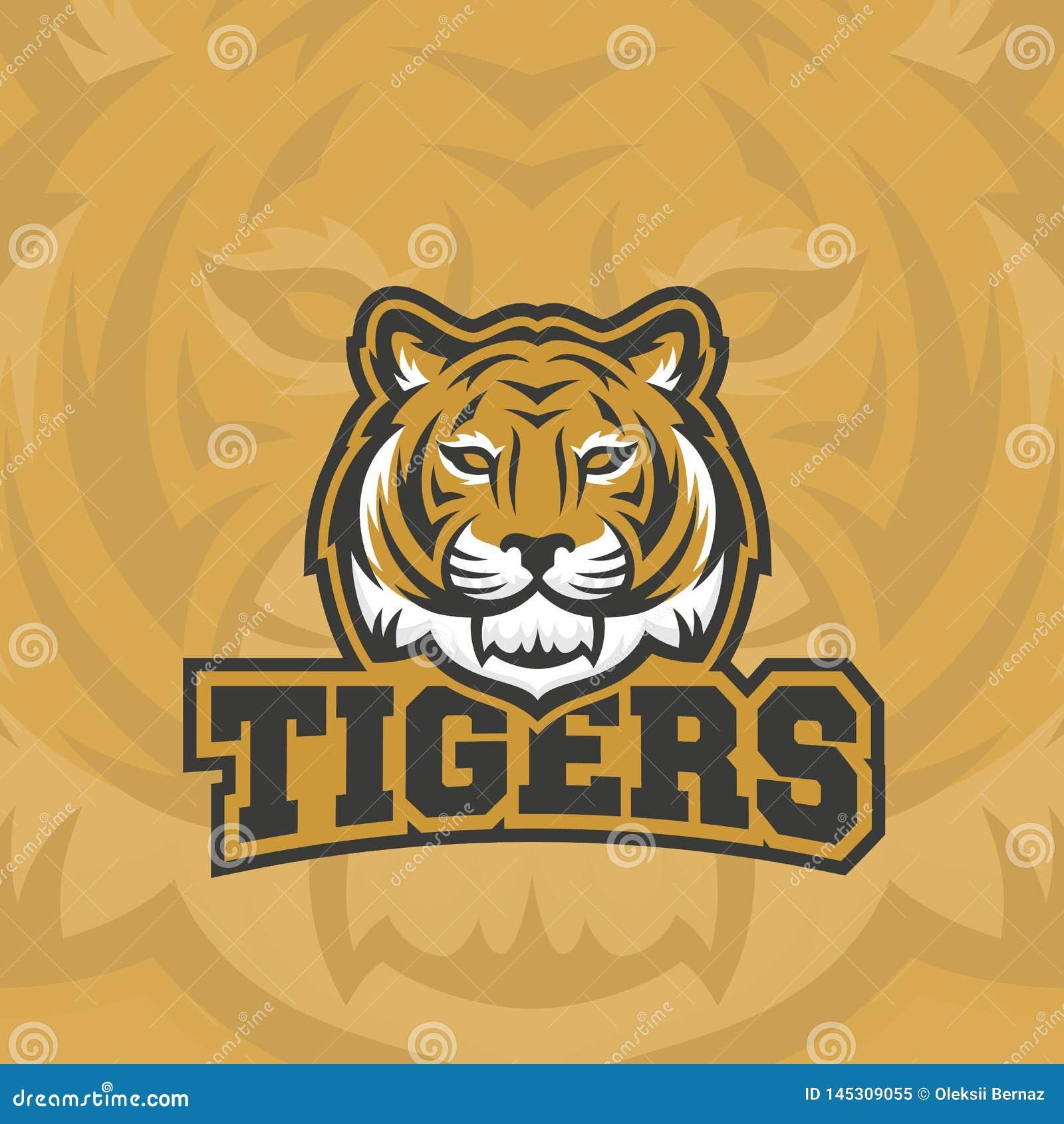 Los tigres resumen la muestra, el emblema o a Logo Template del vector Deporte cl?sico Team Mascot Label Cara animal despredadora