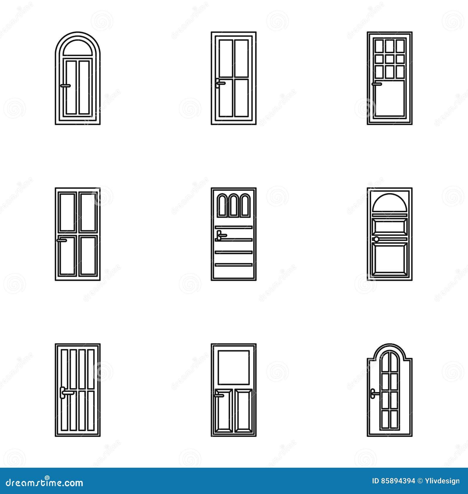 Los tipos de iconos de las puertas fijan resumen estilo for Tipos de puertas de madera