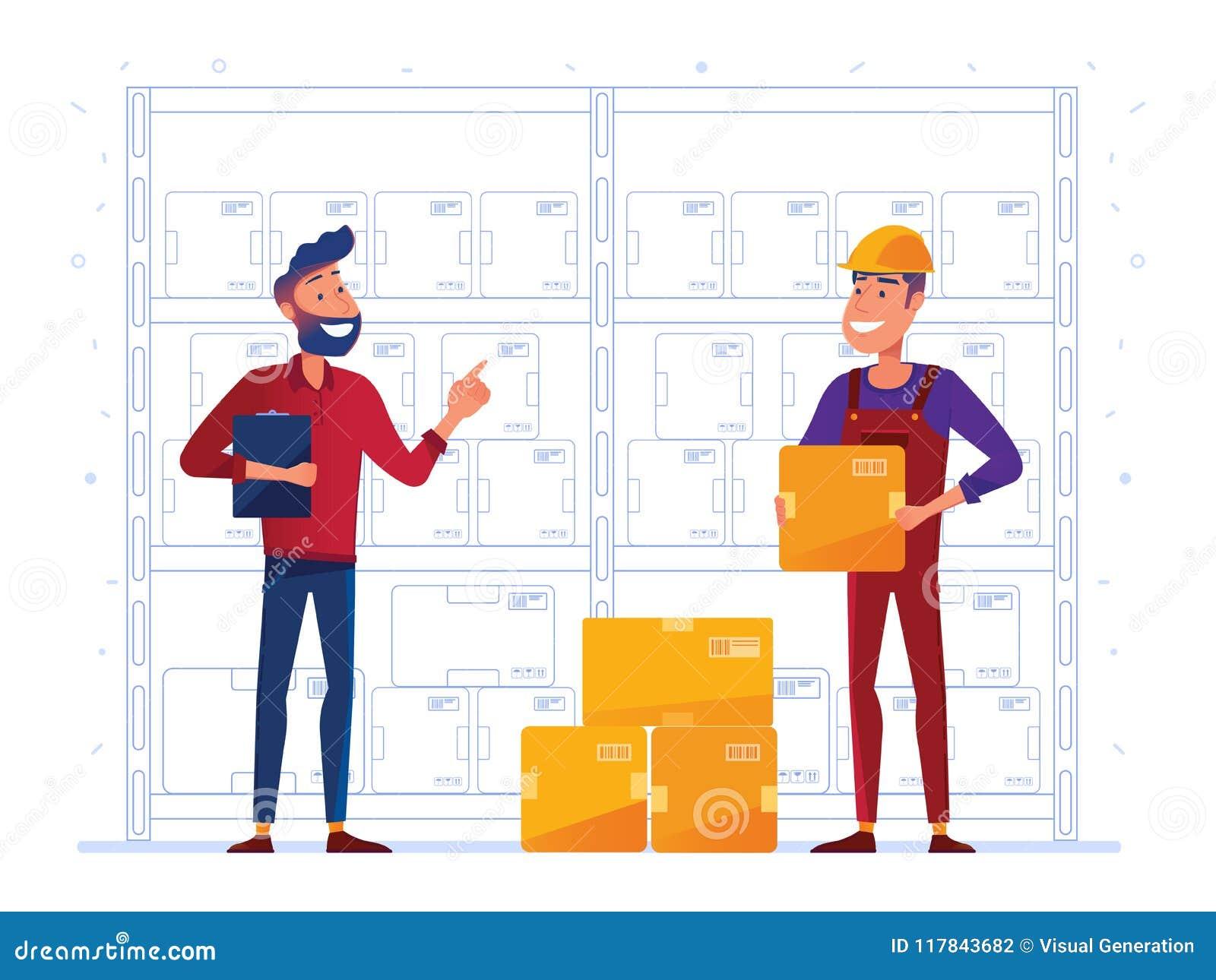 Los trabajadores de Warehouse están almacenando las cajas en el estante