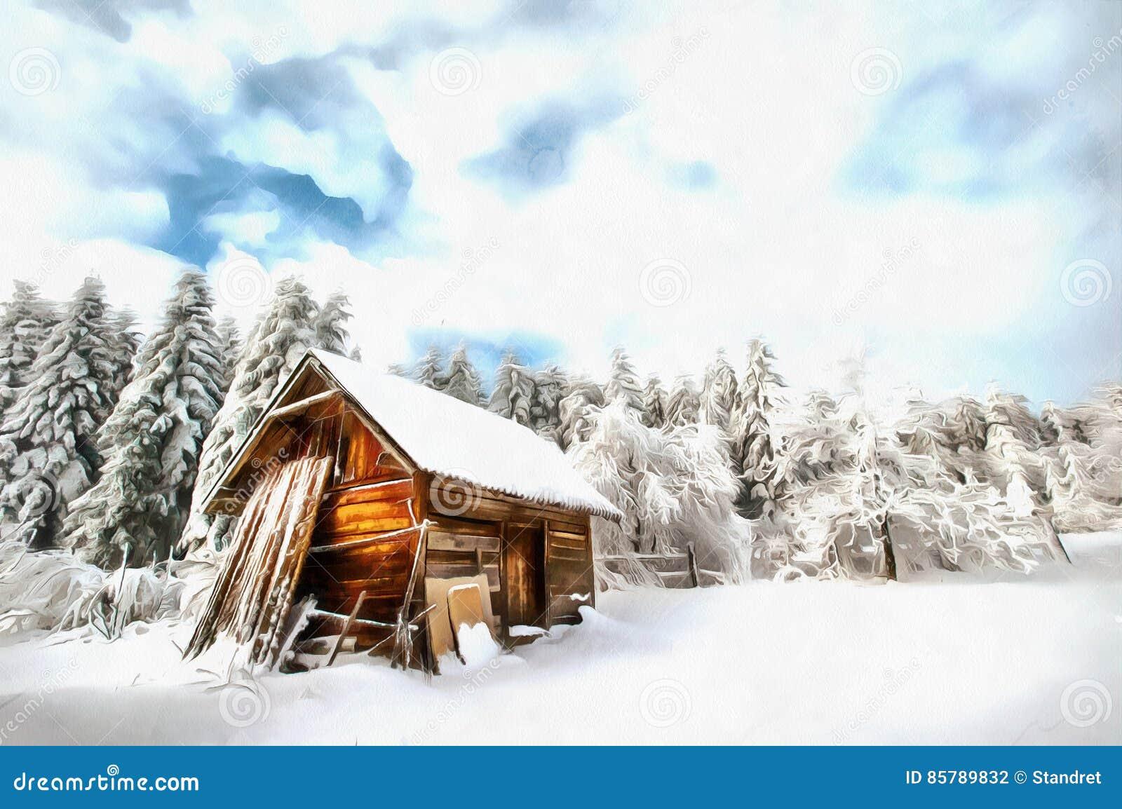Los trabajos en el estilo de la pintura de la acuarela De madera hermoso