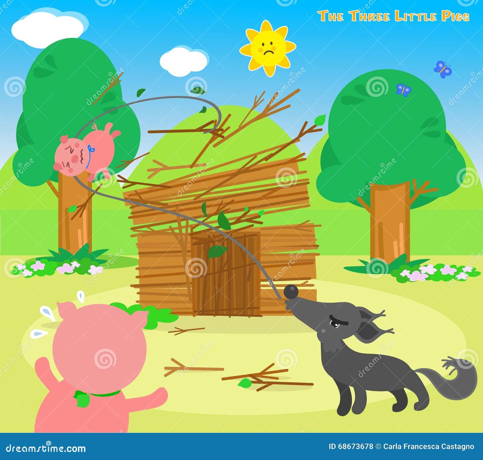 Los Tres Pequeños Cerdos 6: El Lobo Destruye Ilustración del Vector ...