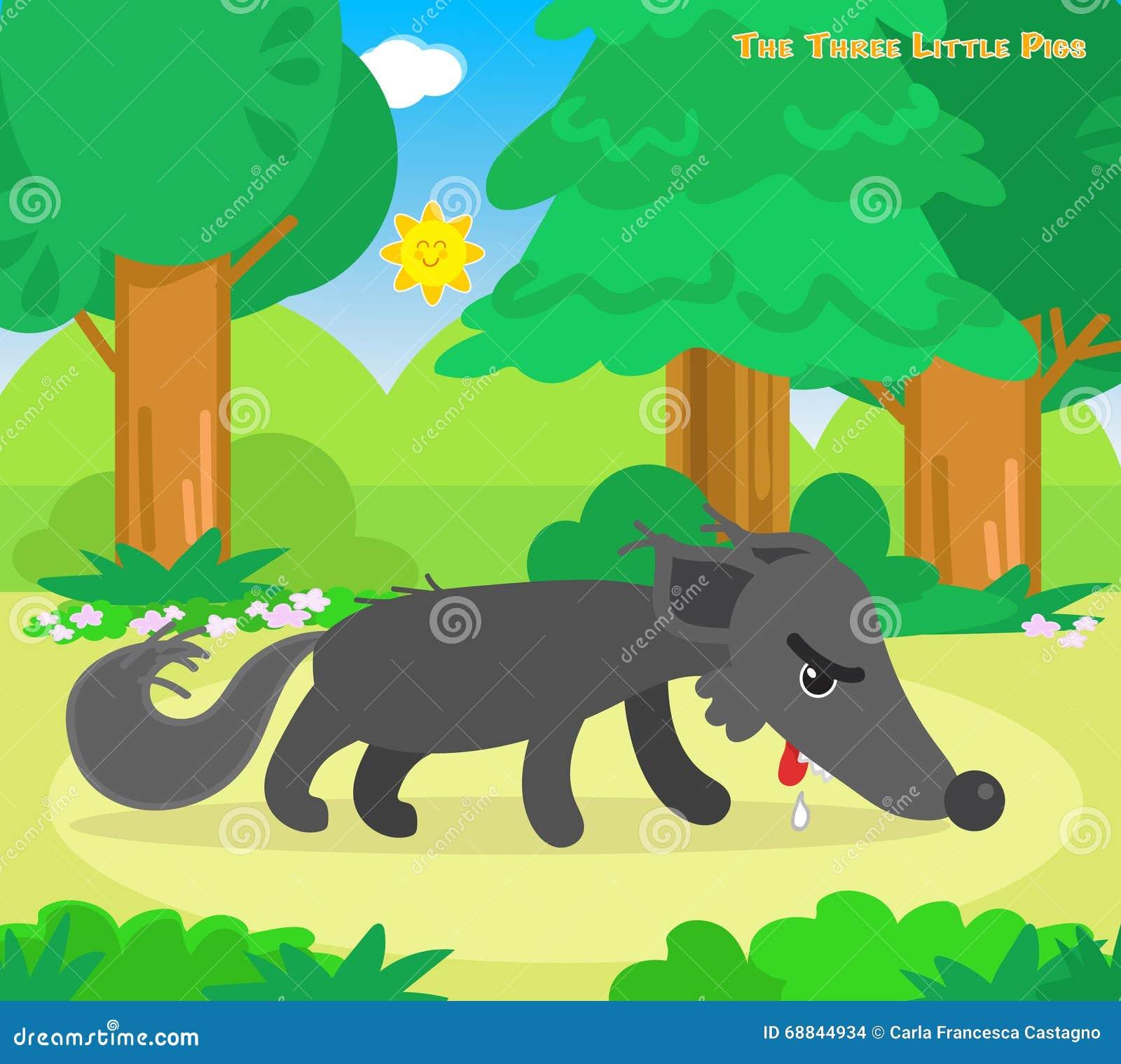 Los Tres Pequeños Cerdos 11: El Lobo Hambriento Ilustración del ...