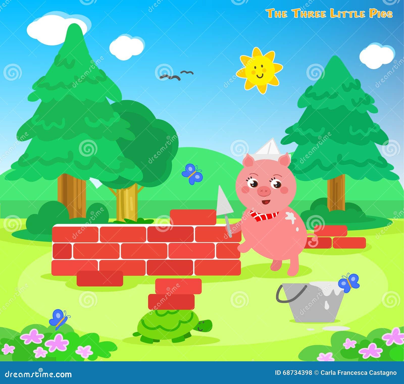 Los Tres Pequeños Cerdos 7: La Casa De Los Ladrillos Ilustración del ...