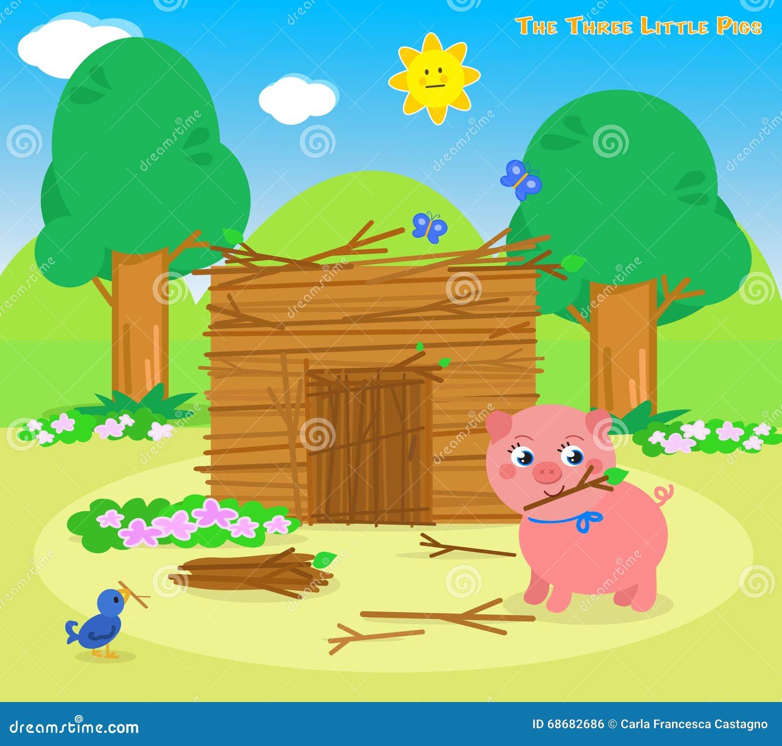 Los Tres Pequeños Cerdos 5: La Casa De Los Palillos Ilustración del ...