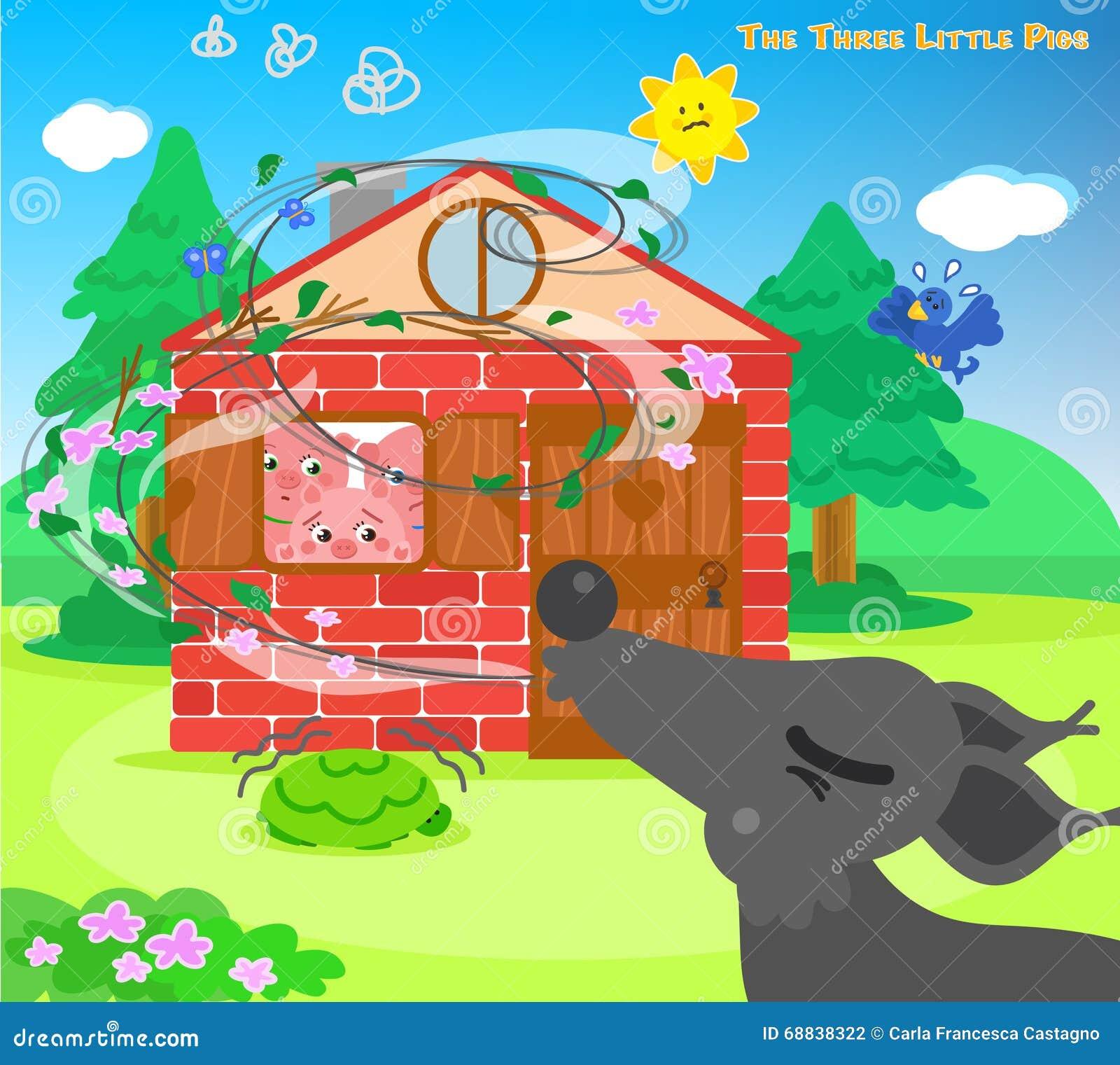 Los Tres Pequeños Cerdos 10: Lobo Que Sopla Ilustración del Vector ...
