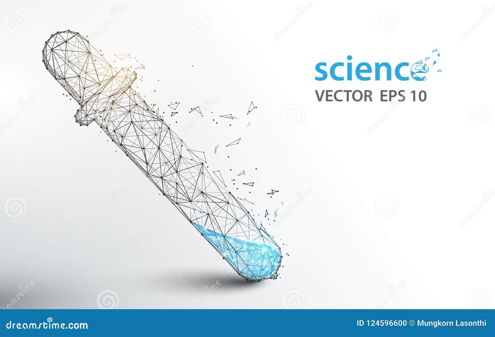 Los tubos de ensayo del laboratorio de ciencia forman líneas y diseño del estilo de la partícula
