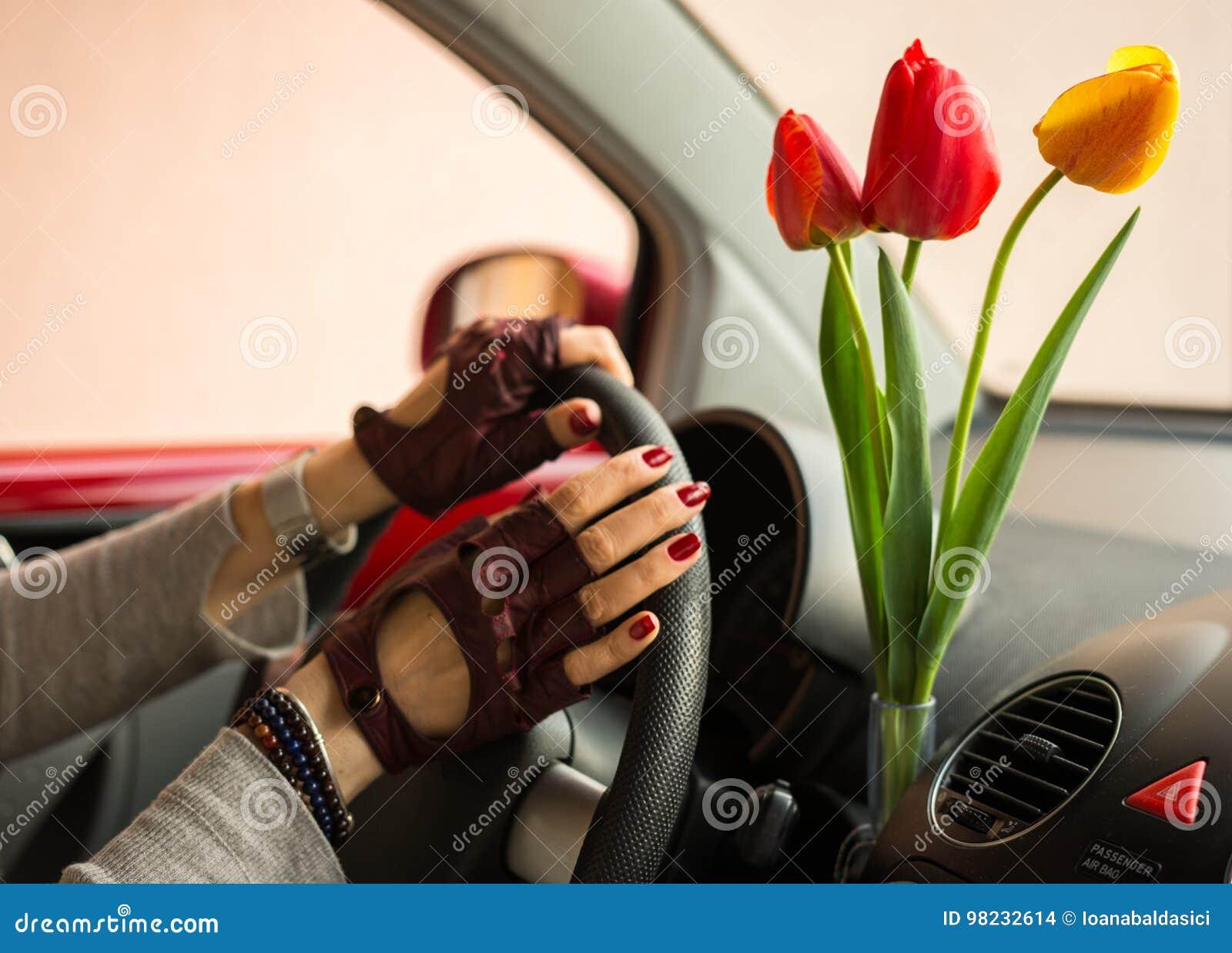 Los tulipanes rojos y amarillos traen a mujeres de la alegría al conducir