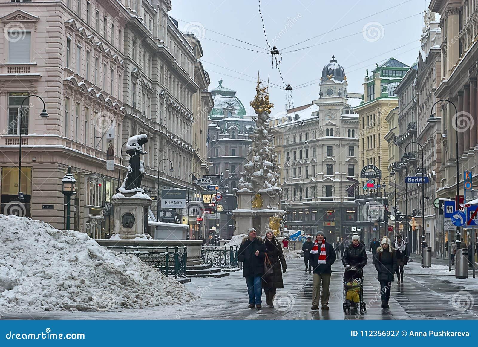 Los turistas están caminando alrededor de Pestsäule en la calle de Graben, Viena