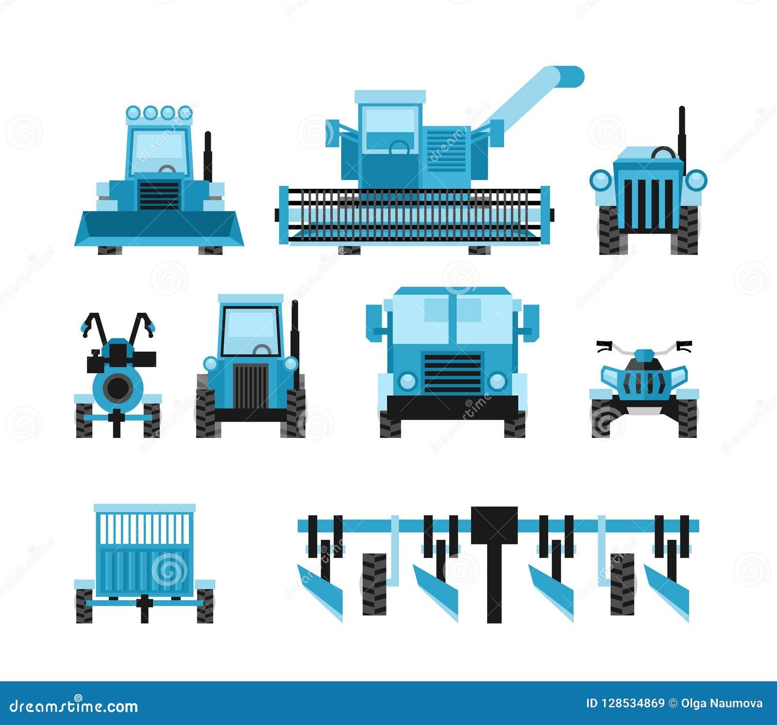 Los vehículos de cosecha agrícolas fijaron con el tractor que cosechaba el remolque
