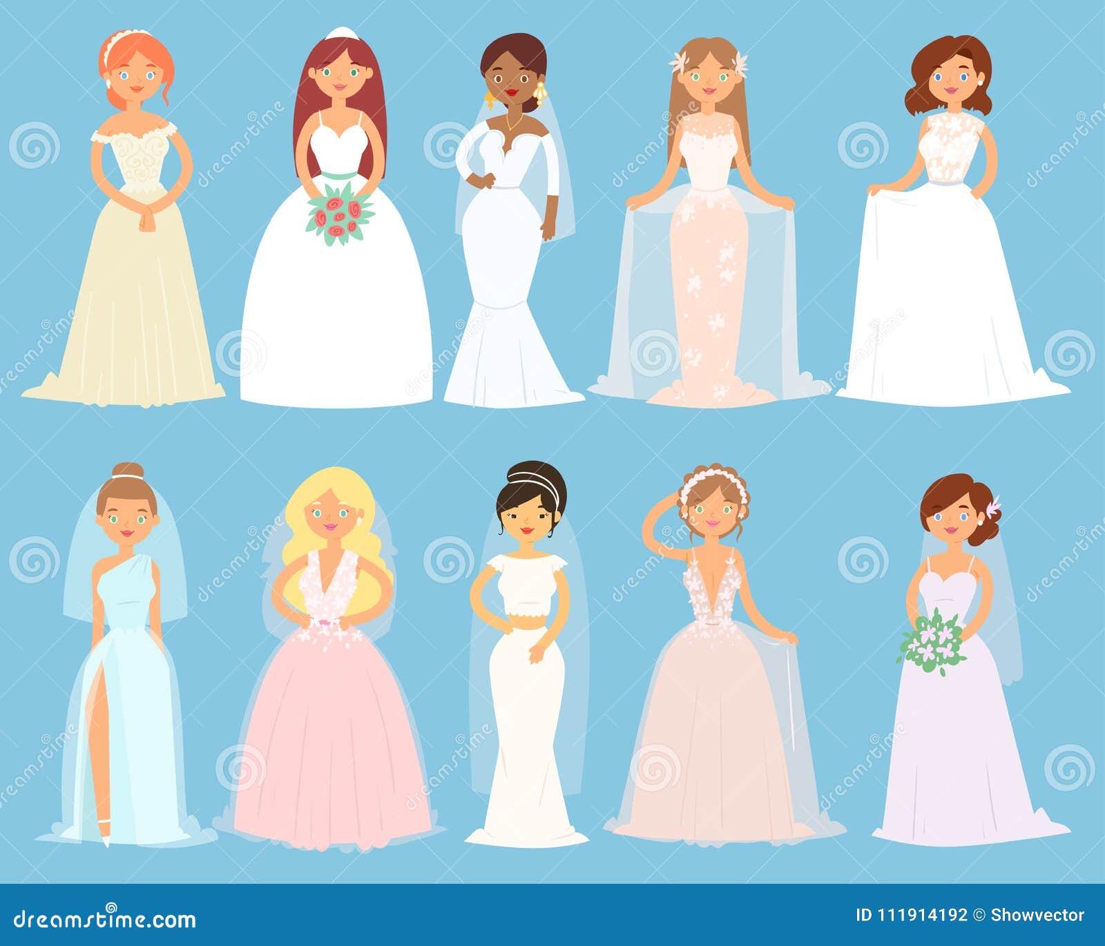Los Vestidos De Boda En Mujer Vector Los Accesorios De Vestido ...