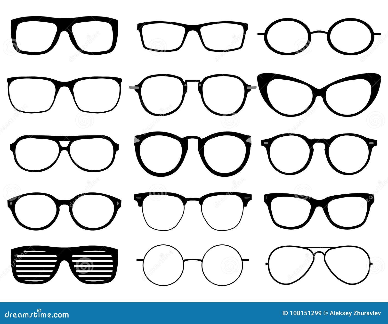 070c1a5fd6 Los vidrios modelan los iconos, hombre, marcos de las mujeres Gafas de sol,  siluetas negras de las lentes aisladas en blanco Diversas formas, marco, ...