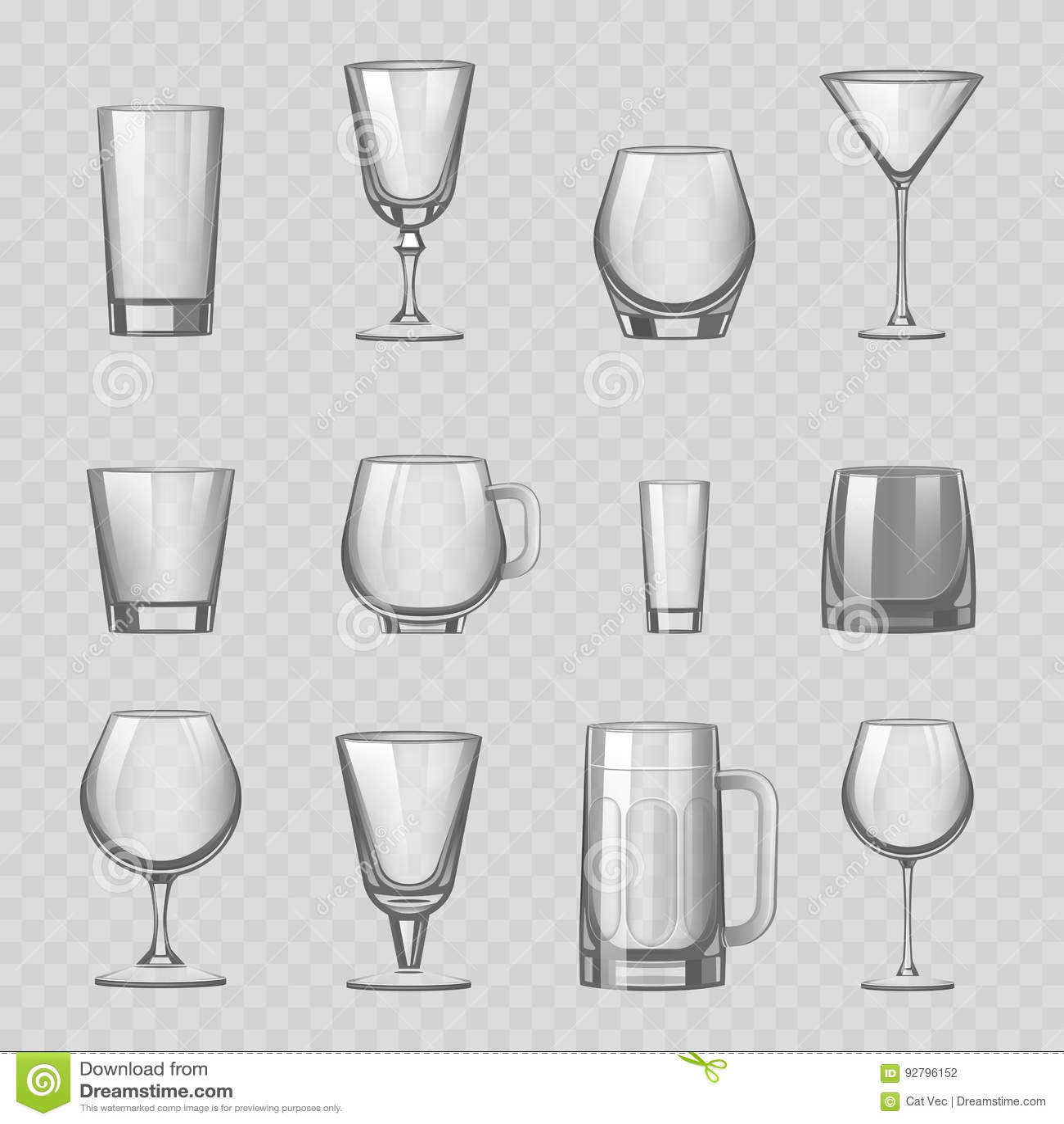 Los vidrios y el vaso vacíos transparentes de las bebidas del stemware asaltan el ejemplo realista del vector del buque del depós