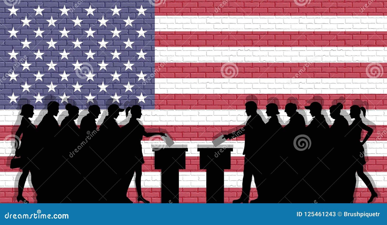 Los votantes americanos aprietan la silueta en la elección con el graff de la bandera de los E.E.U.U.