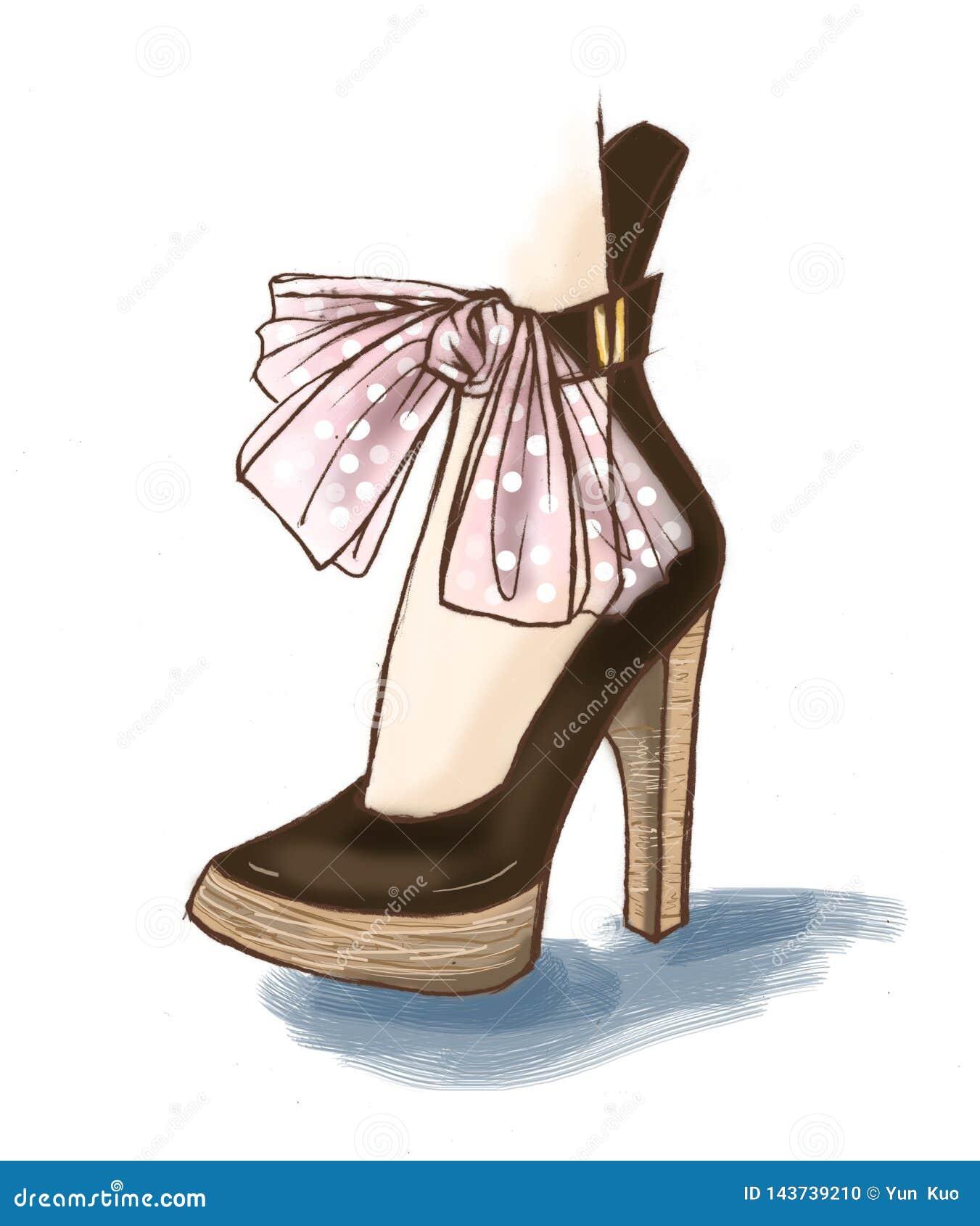 Los zapatos elegantes de la moda diseñan, bosquejo del ejemplo de los accesorios